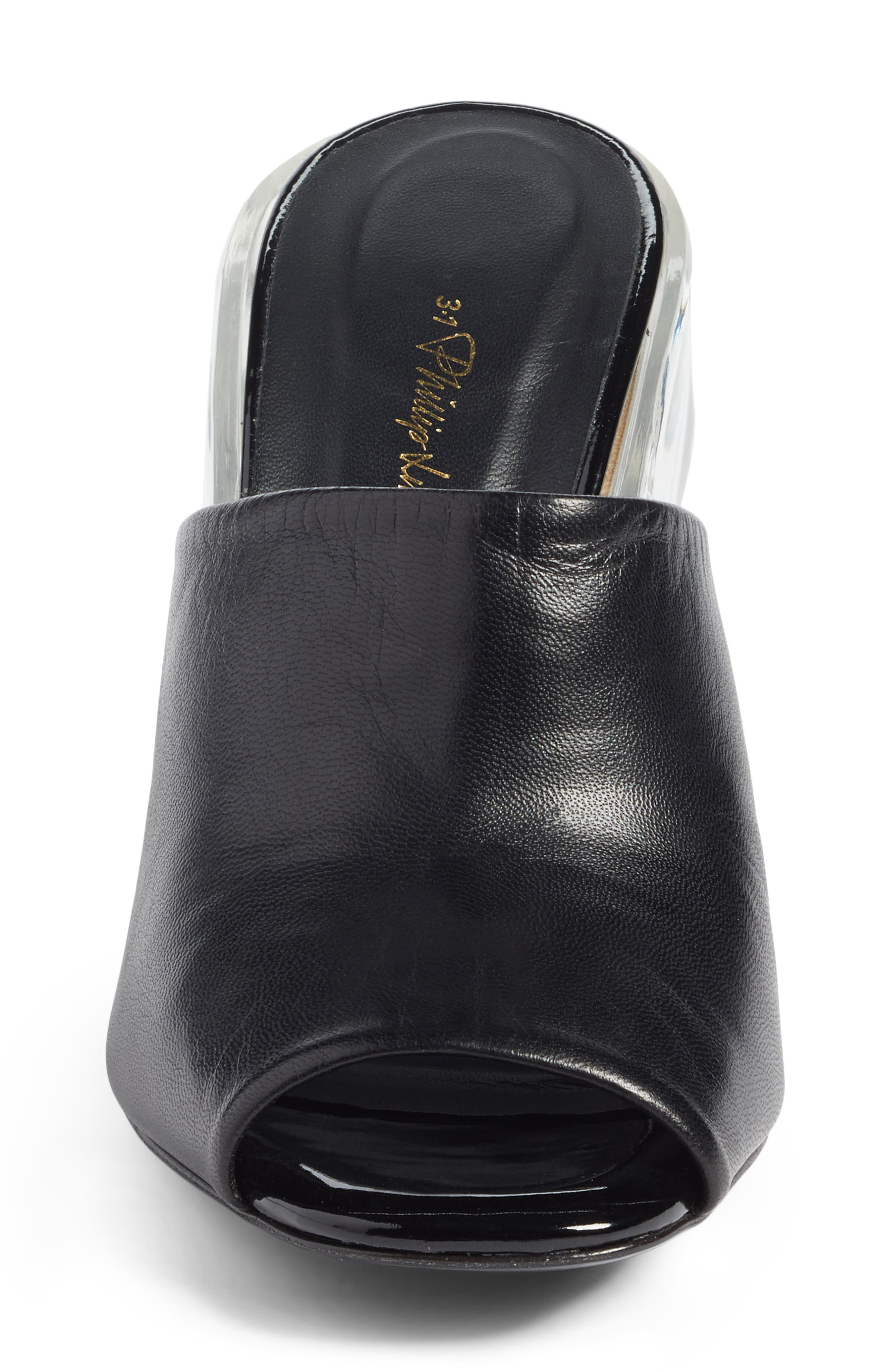 Transparent Wedge Slide Sandal,                             Alternate thumbnail 4, color,                             Black