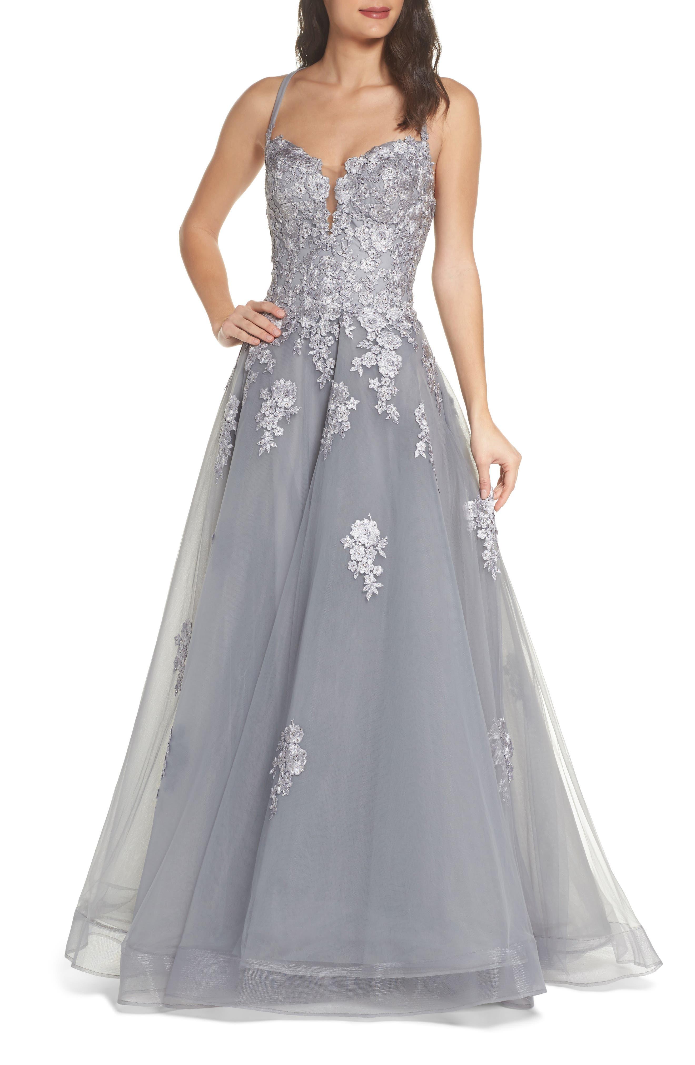 Main Image - La Femme Embellished Mesh Halter Ballgown
