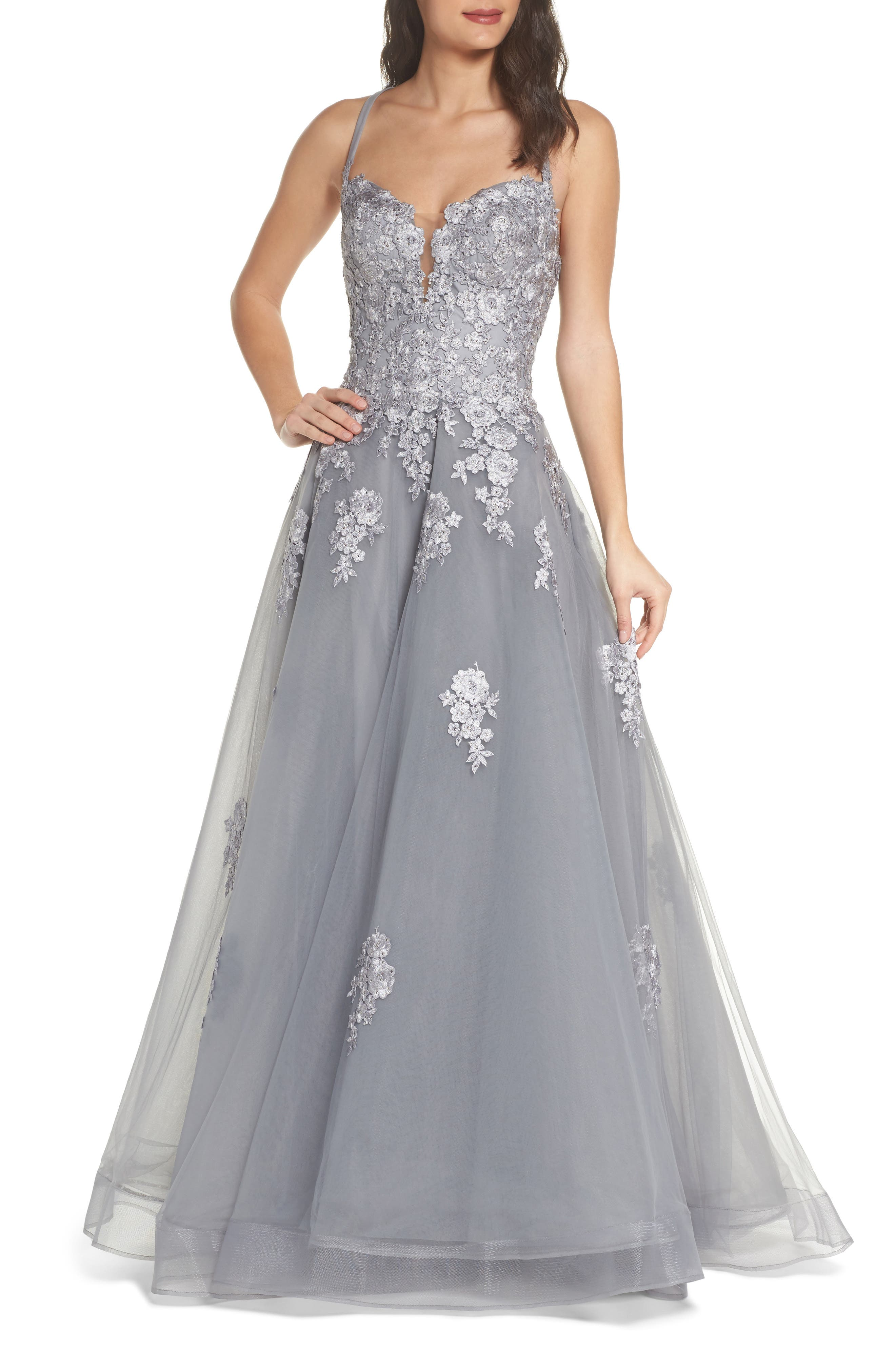 La Femme Embellished Mesh Halter Ballgown