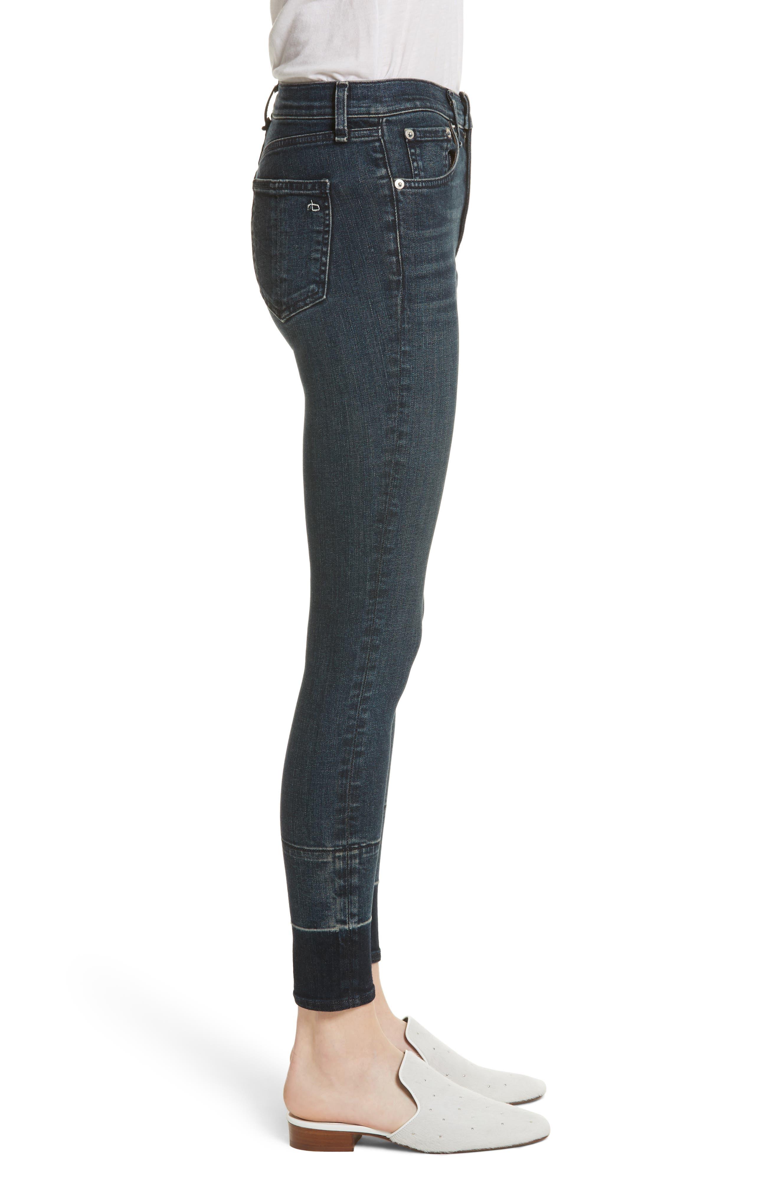 High Waist Ankle Skinny Jeans,                             Alternate thumbnail 3, color,                             Vee