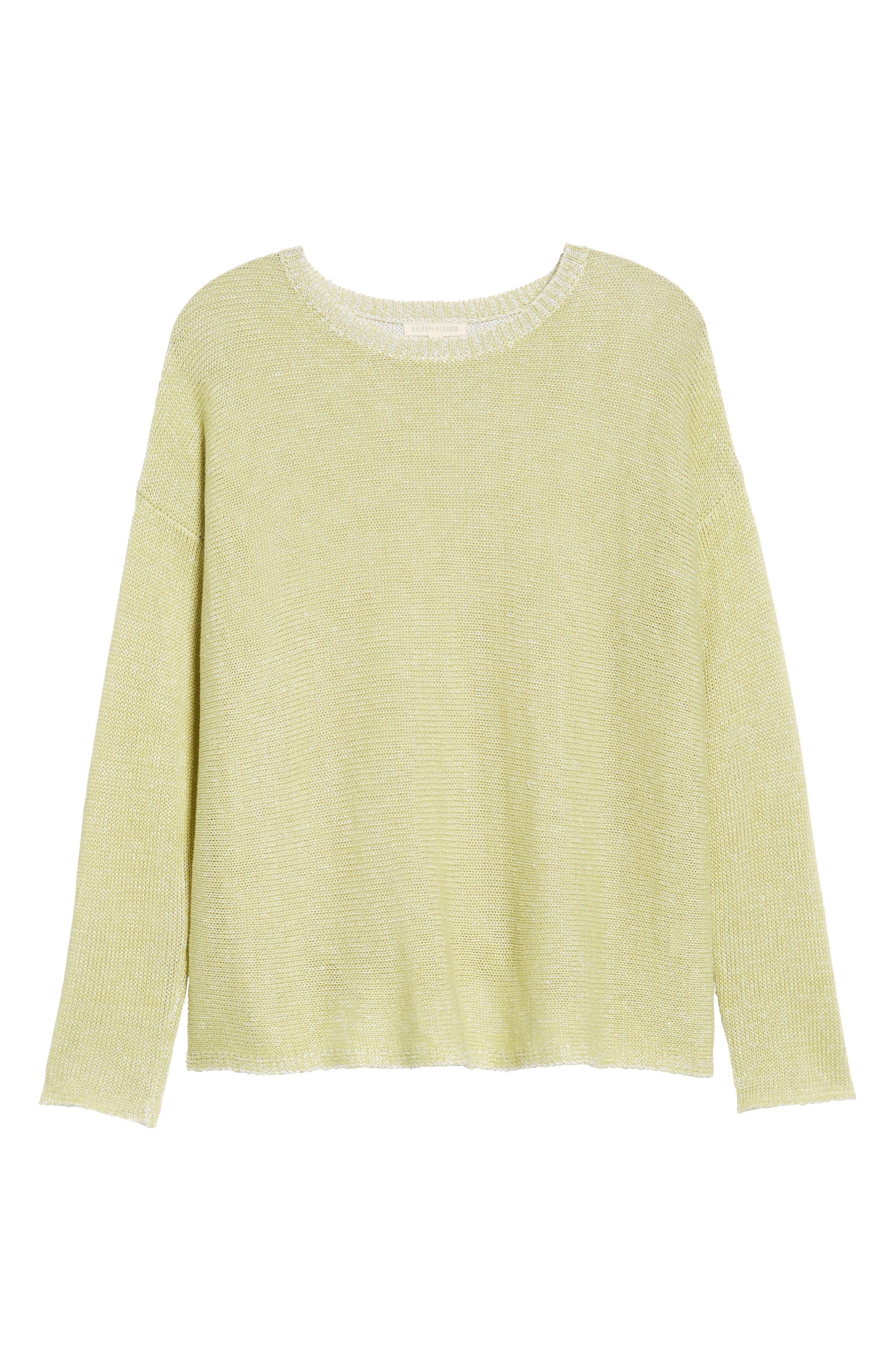 Boxy Organic Linen Sweater,                             Alternate thumbnail 6, color,                             Verbena