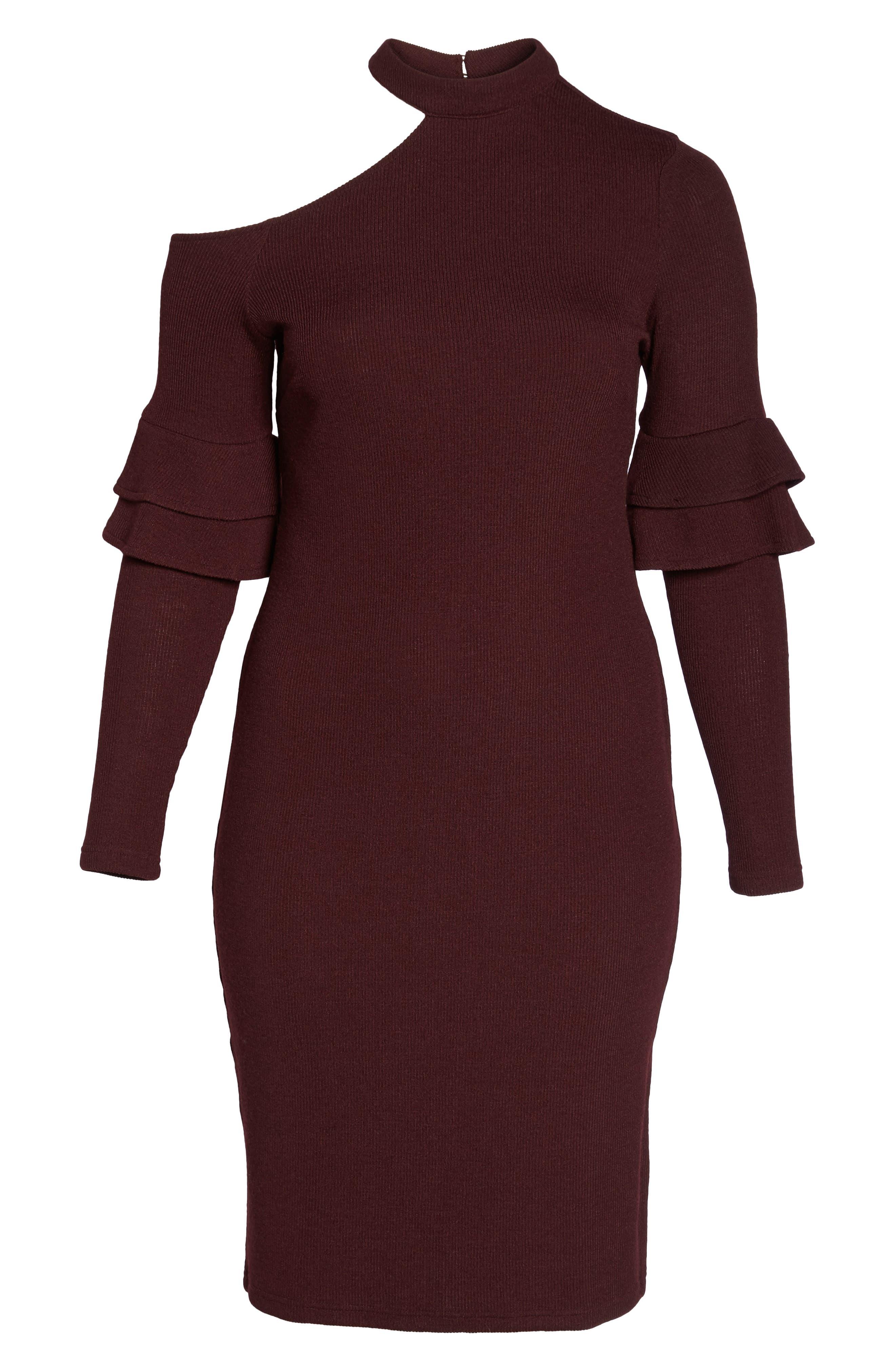 Alternate Image 6  - LOST INK Shoulder Cutout Knit Dress (Plus Size)