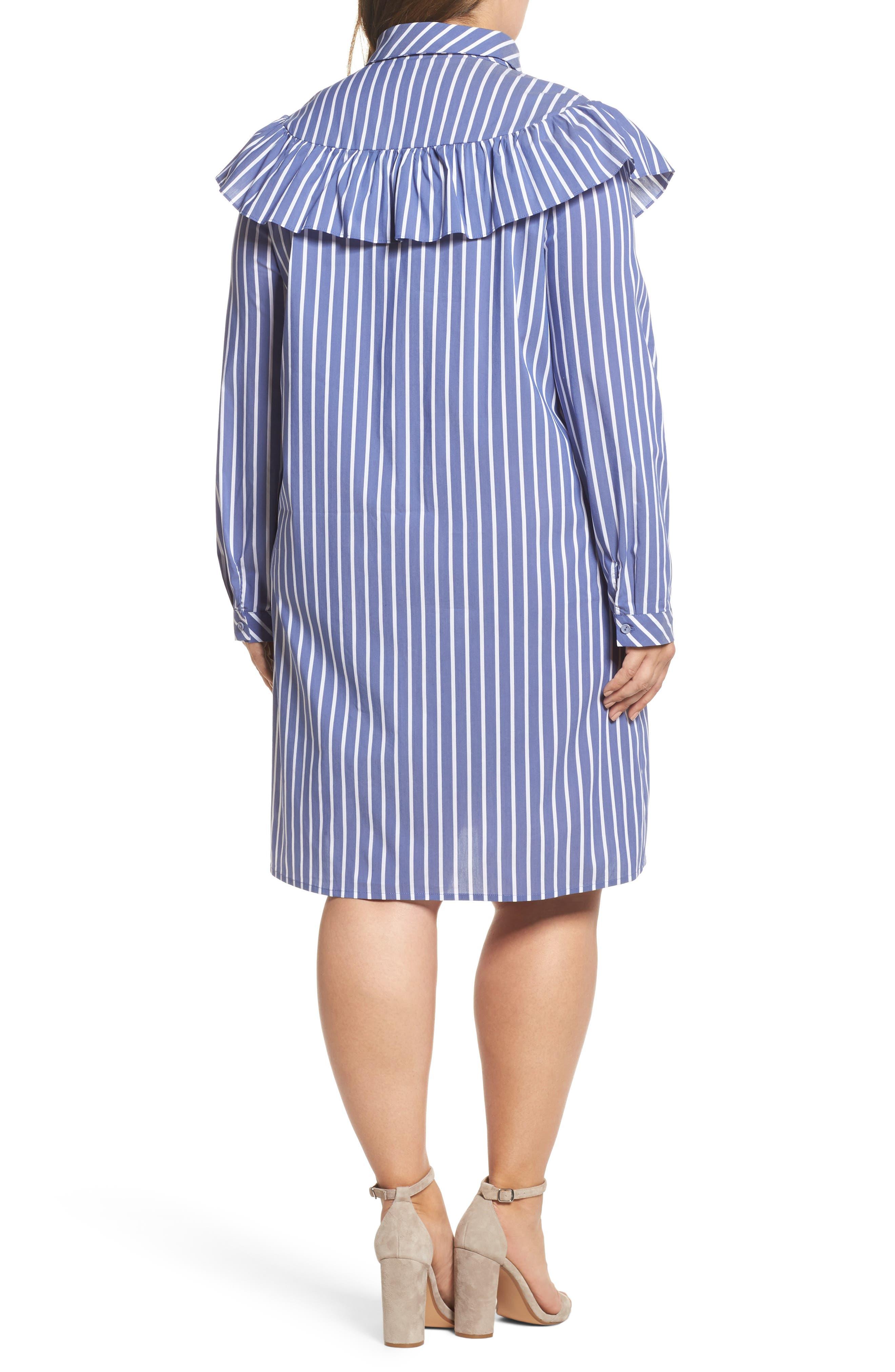Ruffle Stripe Shirtdress,                             Alternate thumbnail 2, color,                             Blue White Stripe