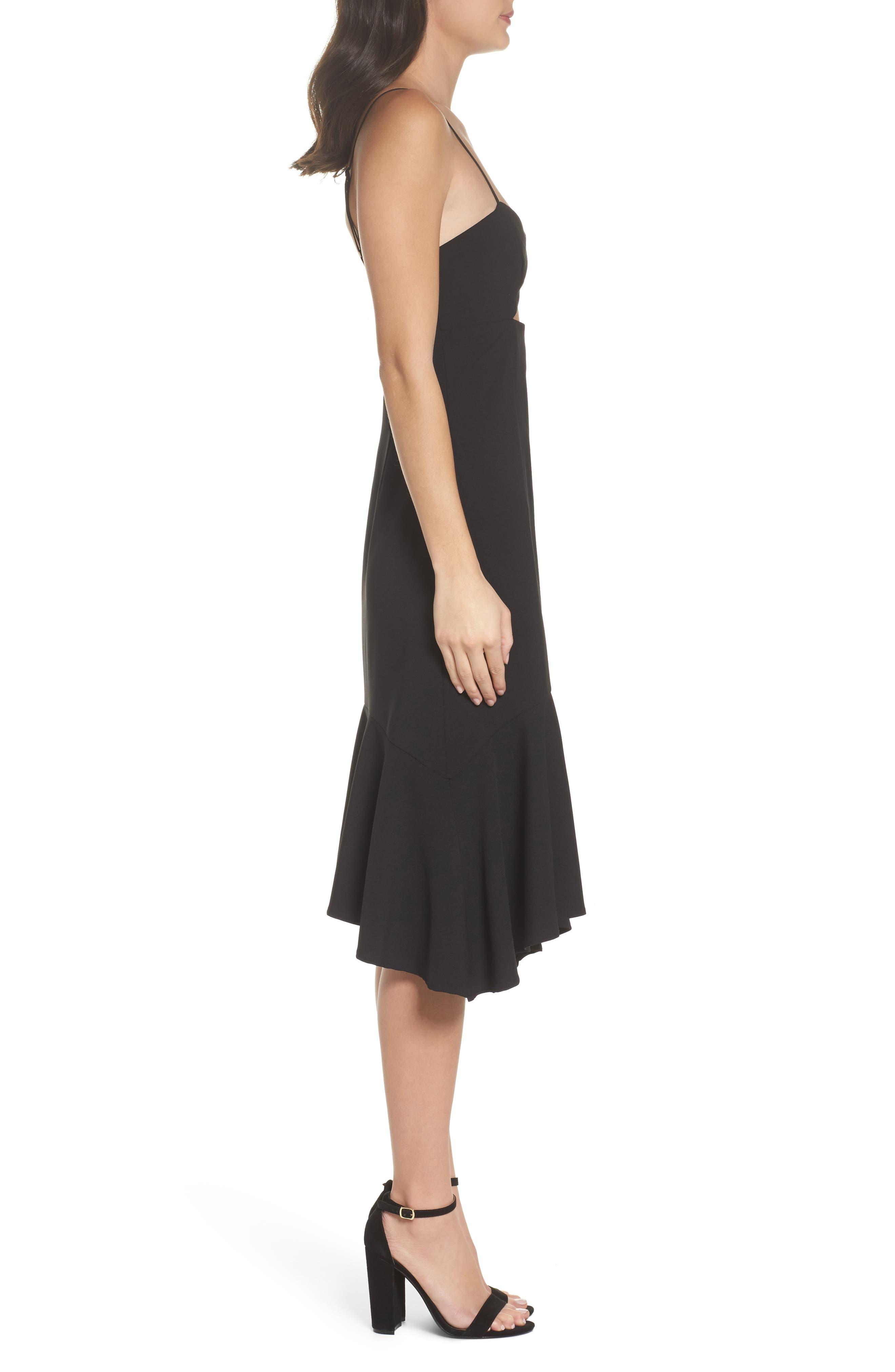 Cutout Midi Dress,                             Alternate thumbnail 3, color,                             Black