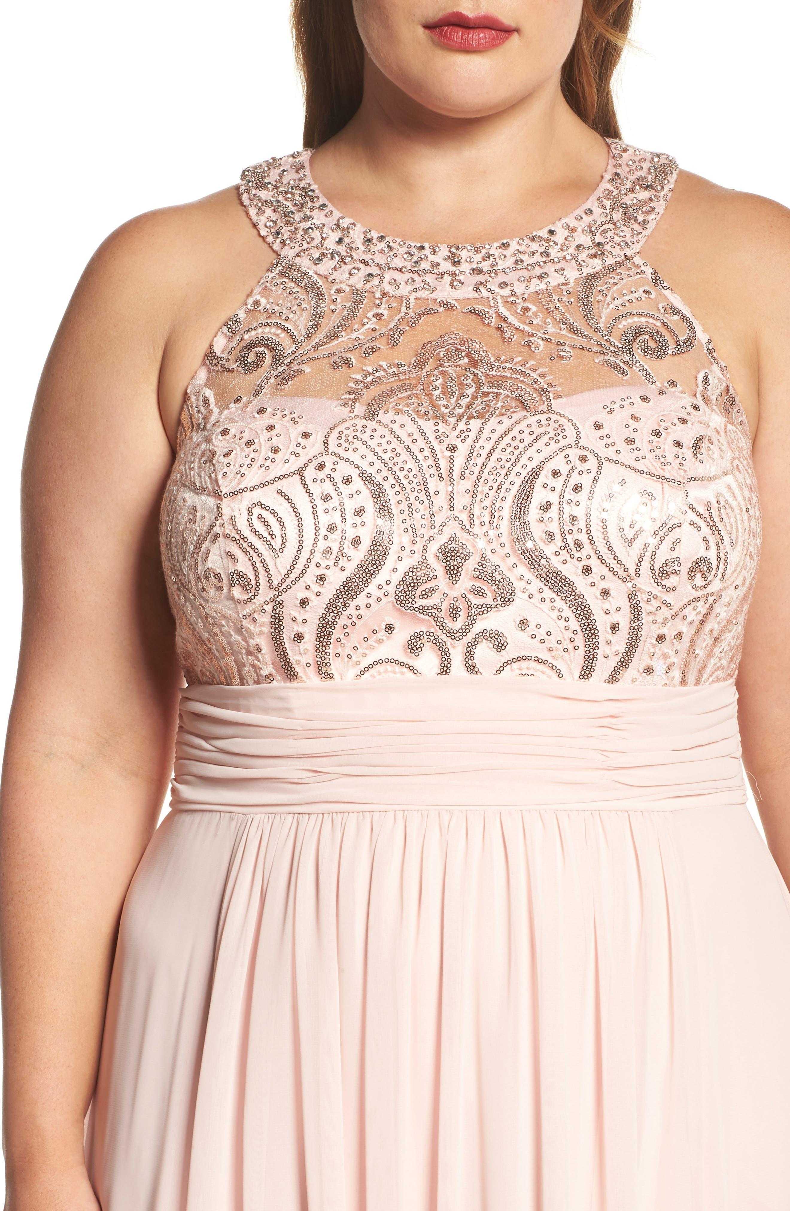 Sequin & Lace Bodice Chiffon Gown,                             Alternate thumbnail 4, color,                             Blush