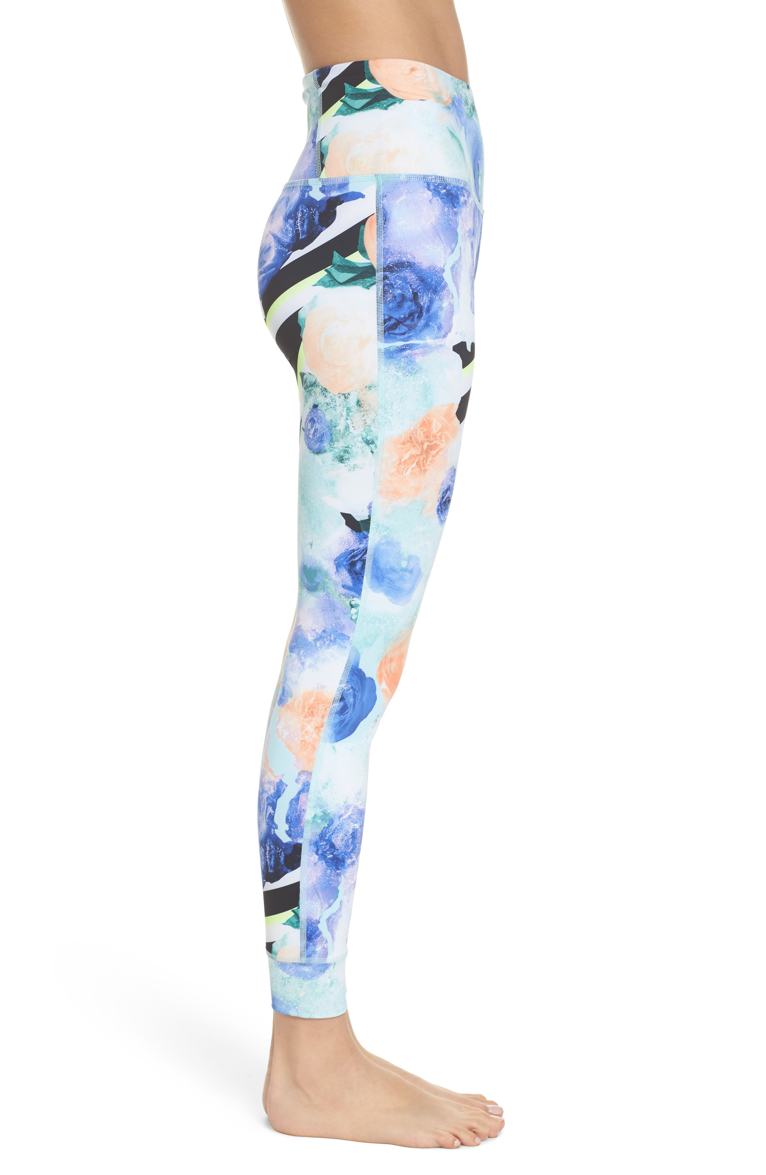 Lux High Rise Tights,                             Alternate thumbnail 3, color,                             Blue Lagoon