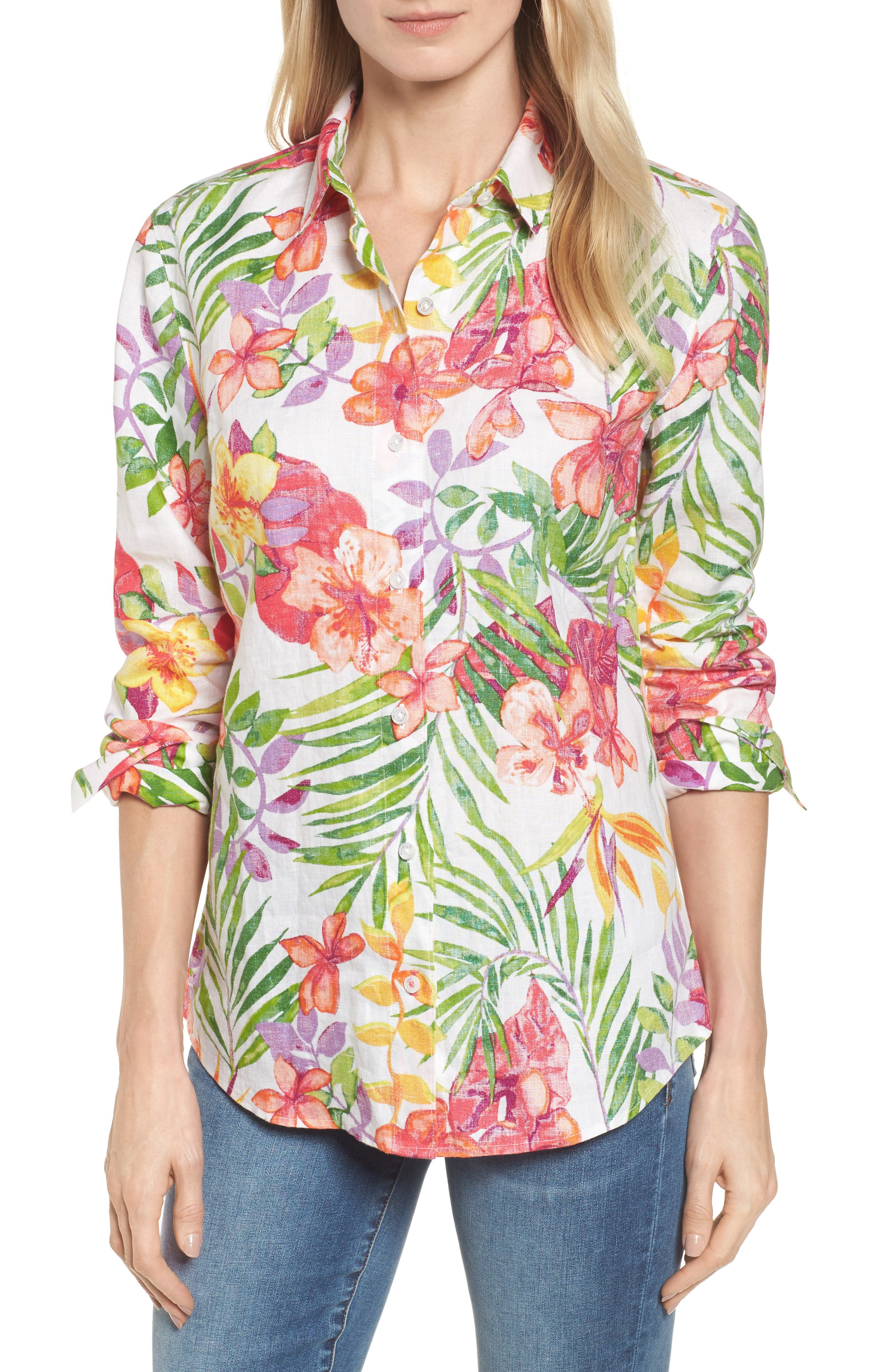 Marabella Blooms Button Down Shirt,                         Main,                         color, White
