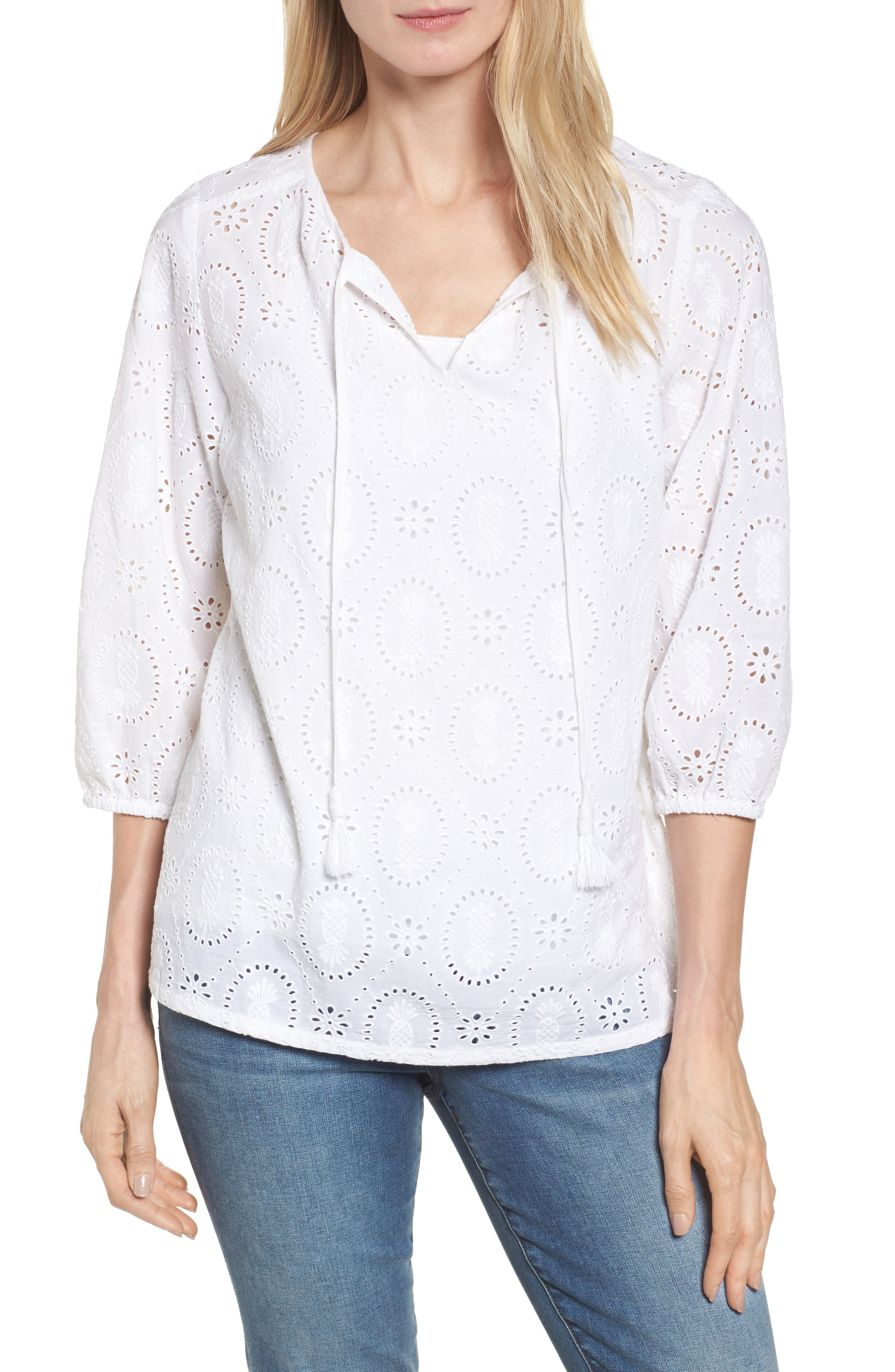 Pineapple Blossoms Tie Neck Blouse,                         Main,                         color, White