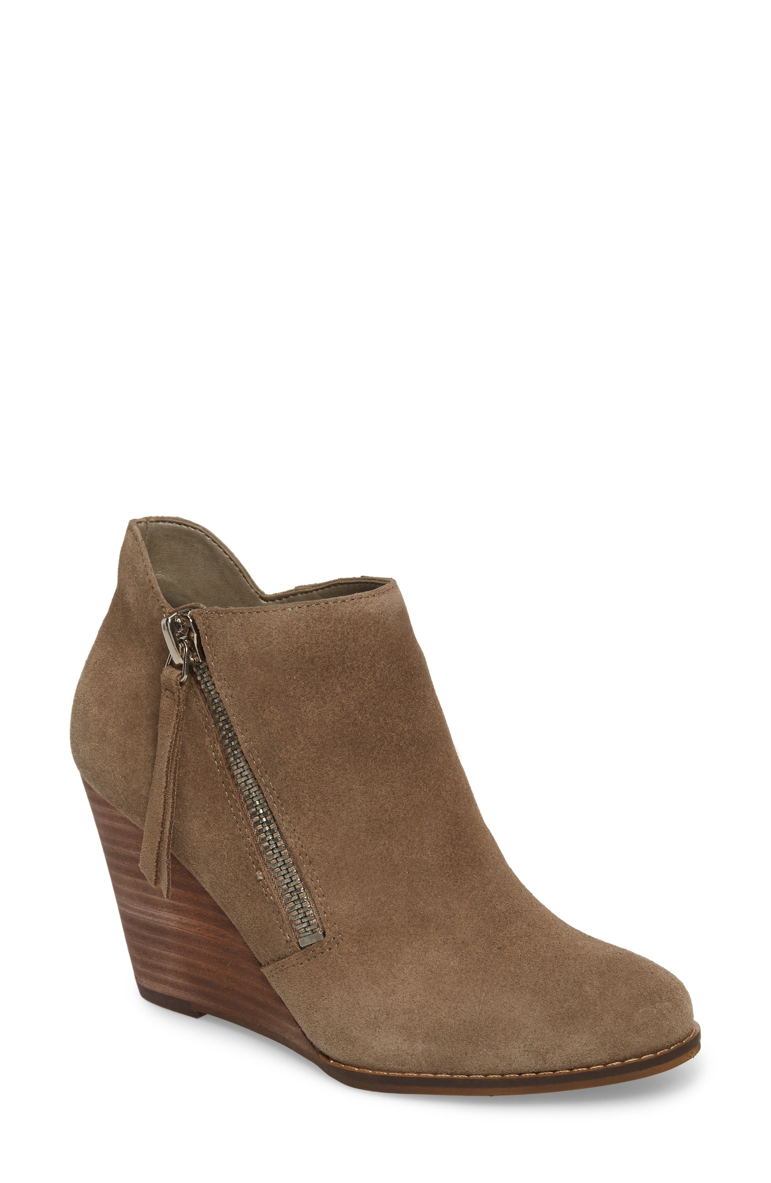Carnivela Wedge Bootie,                             Main thumbnail 1, color,                             Greyhound Suede