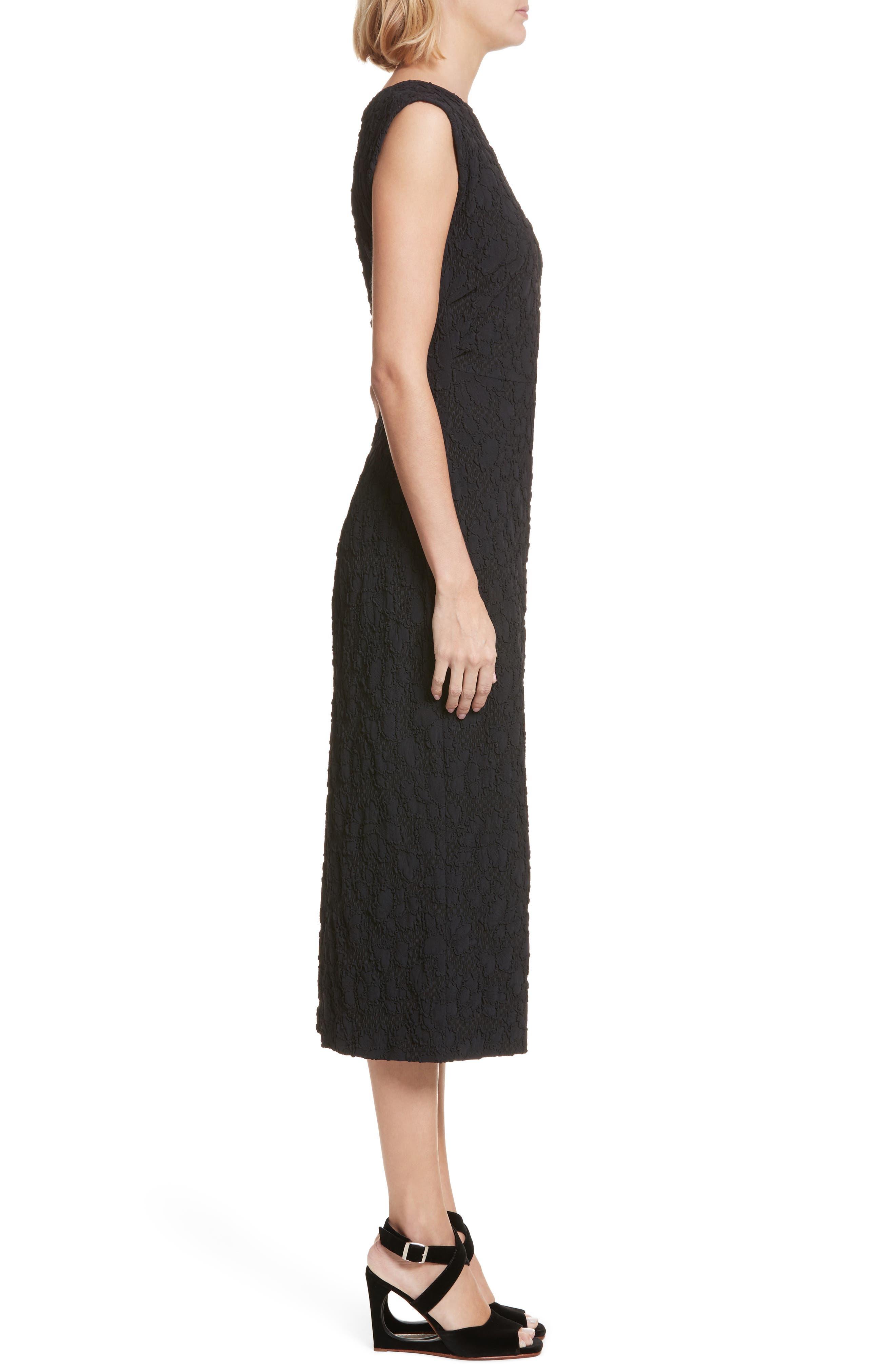 Medina Floral Jacquard Sheath Dress,                             Alternate thumbnail 3, color,                             Black
