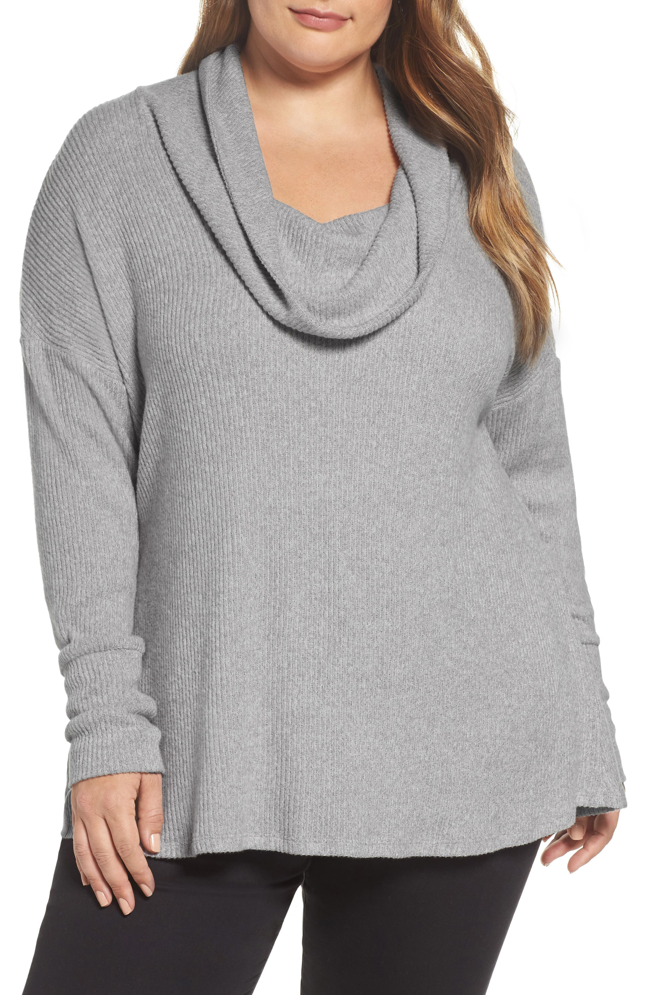 Cowl Neck Pullover,                             Main thumbnail 1, color,                             Heather Grey