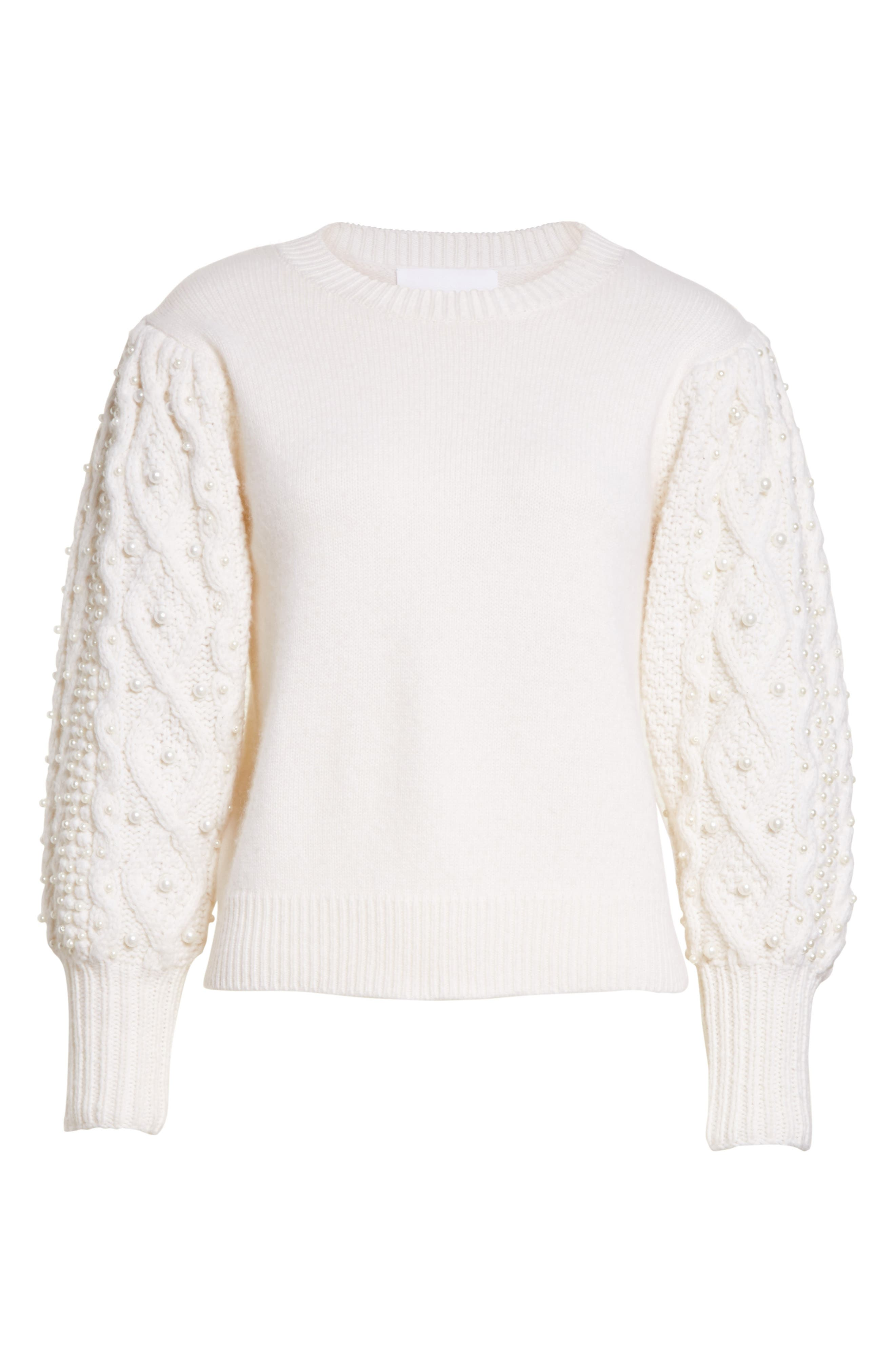 Imitation Pearl Embellished Wool & Cashmere Sweater,                             Alternate thumbnail 7, color,                             Ivory