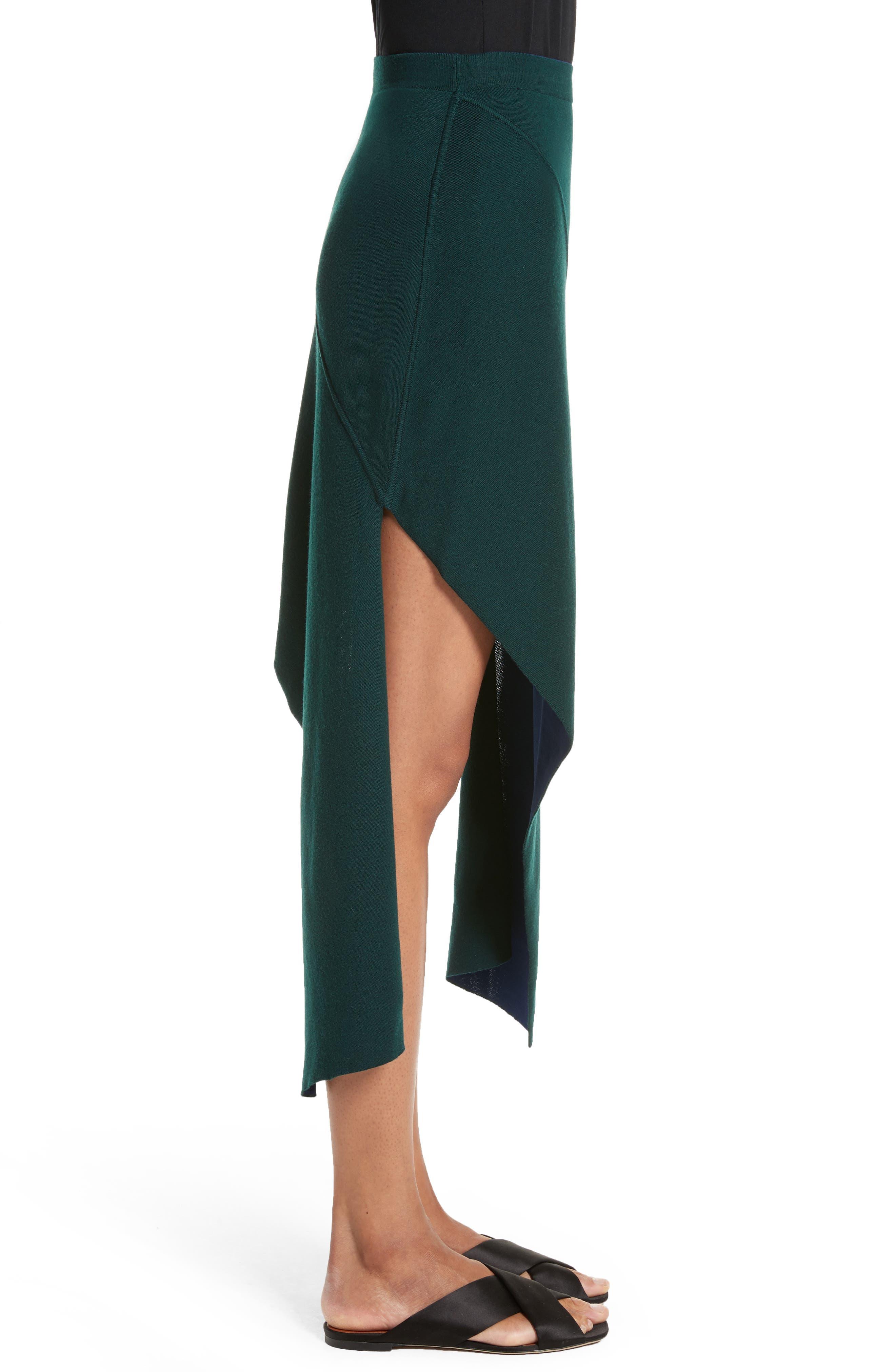 Reversible Asymmetrical Knit Midi Skirt,                             Alternate thumbnail 3, color,                             Ivy/ Lapis