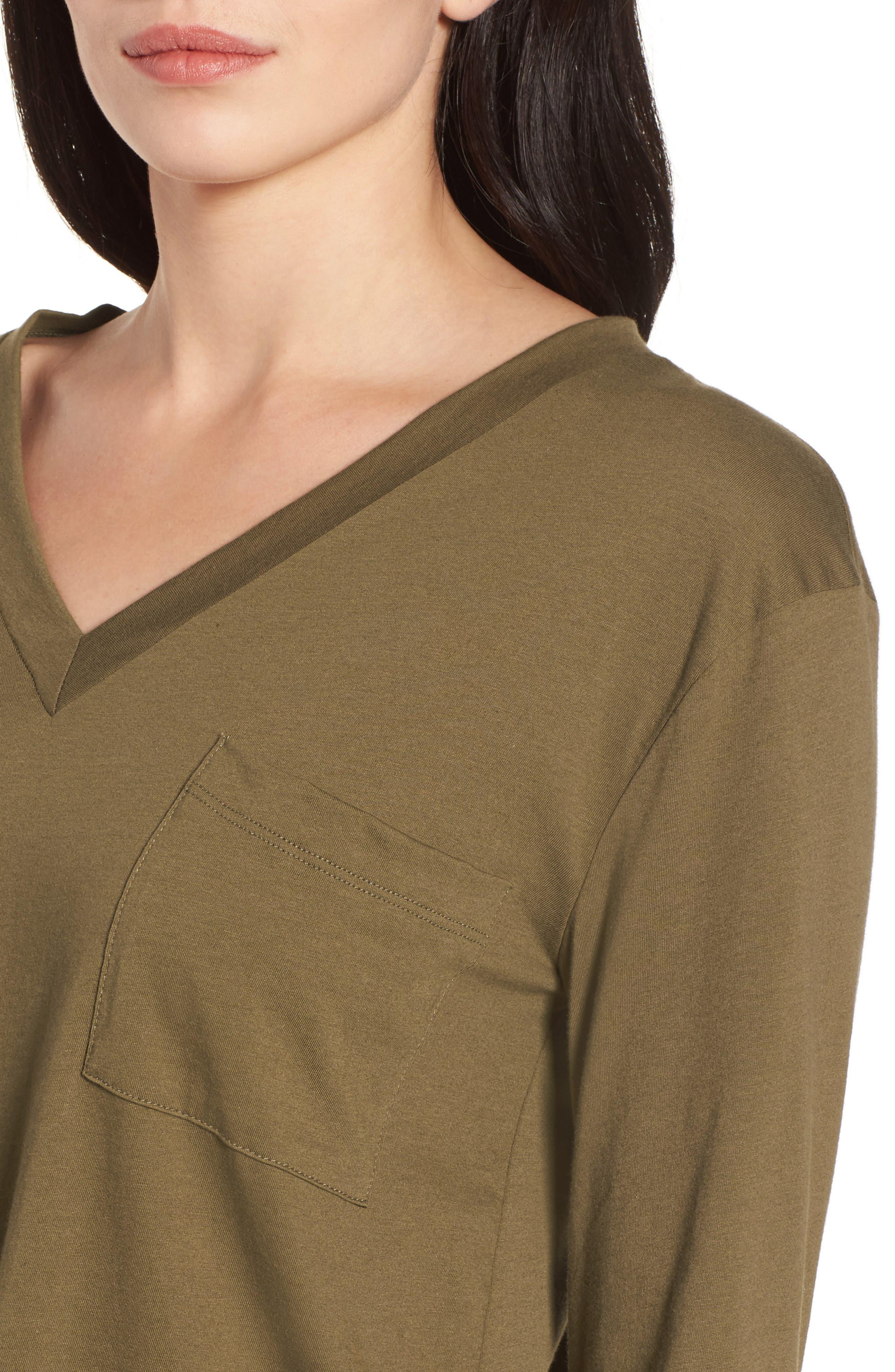 Long Sleeve V Neck Pocket Tee,                             Alternate thumbnail 4, color,                             Olive