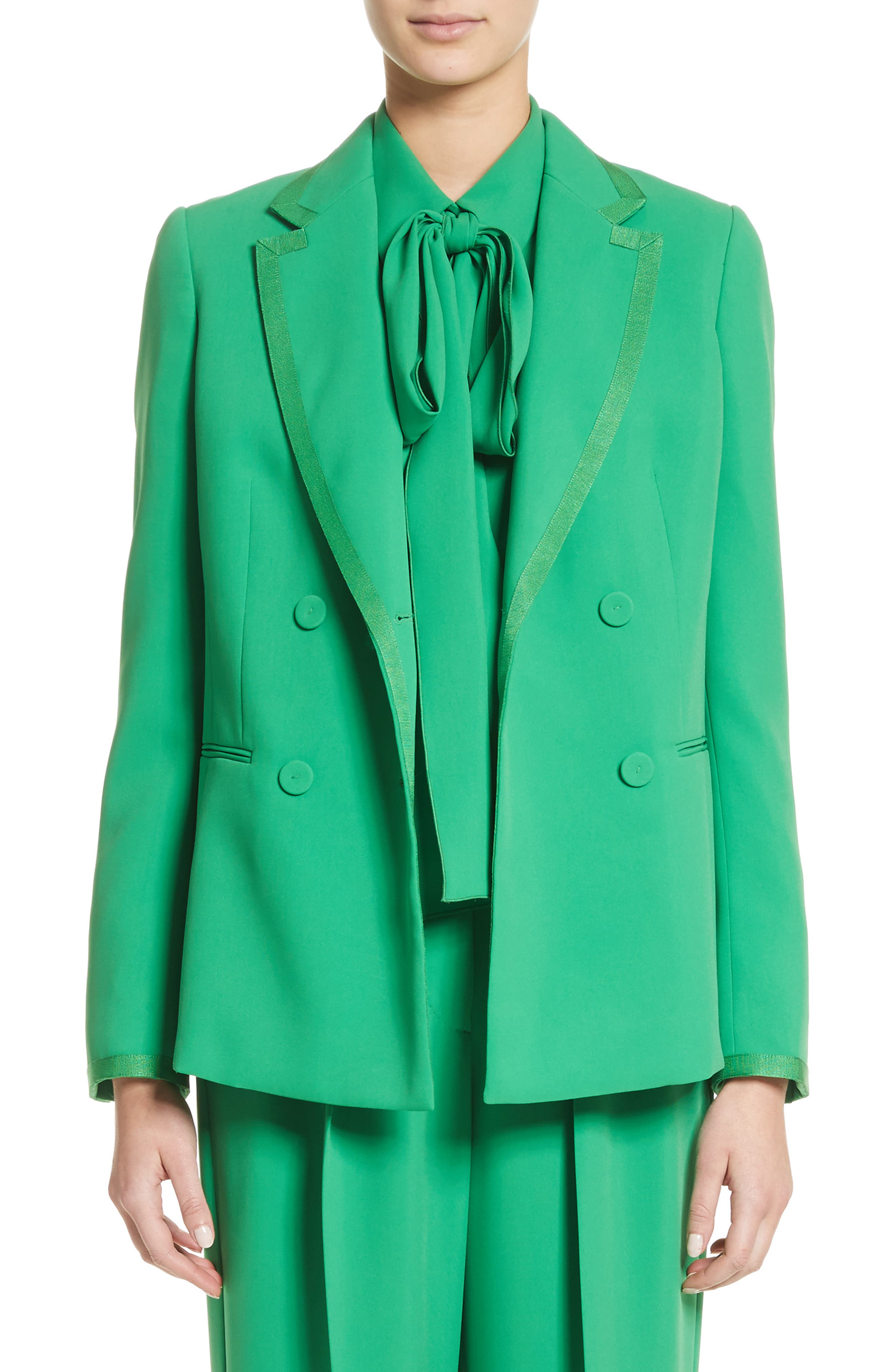 Double Breasted Blazer,                         Main,                         color, Green