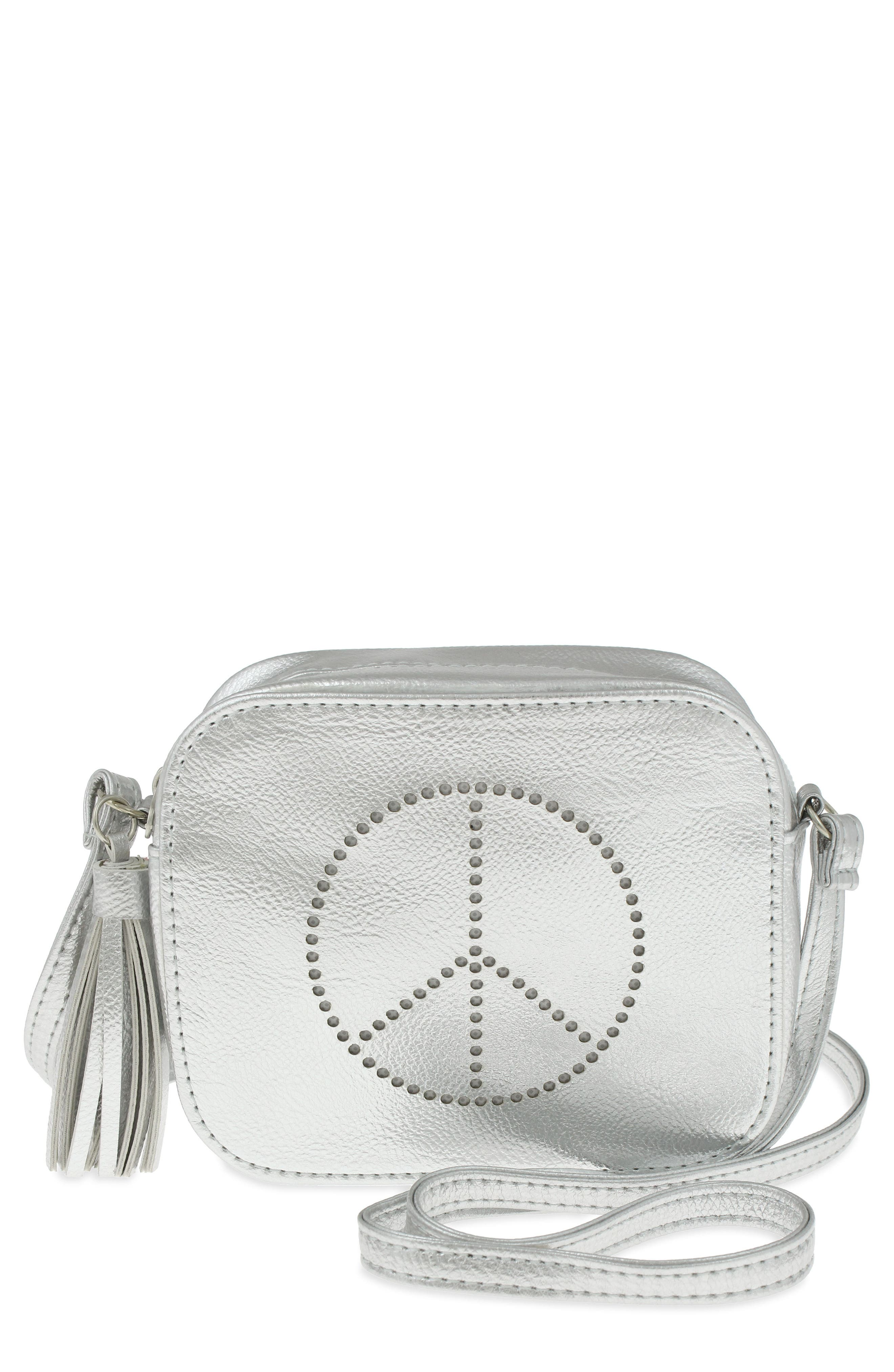 Peace Sign Faux Leather Crossbody Bag,                             Main thumbnail 1, color,                             Silver Combo