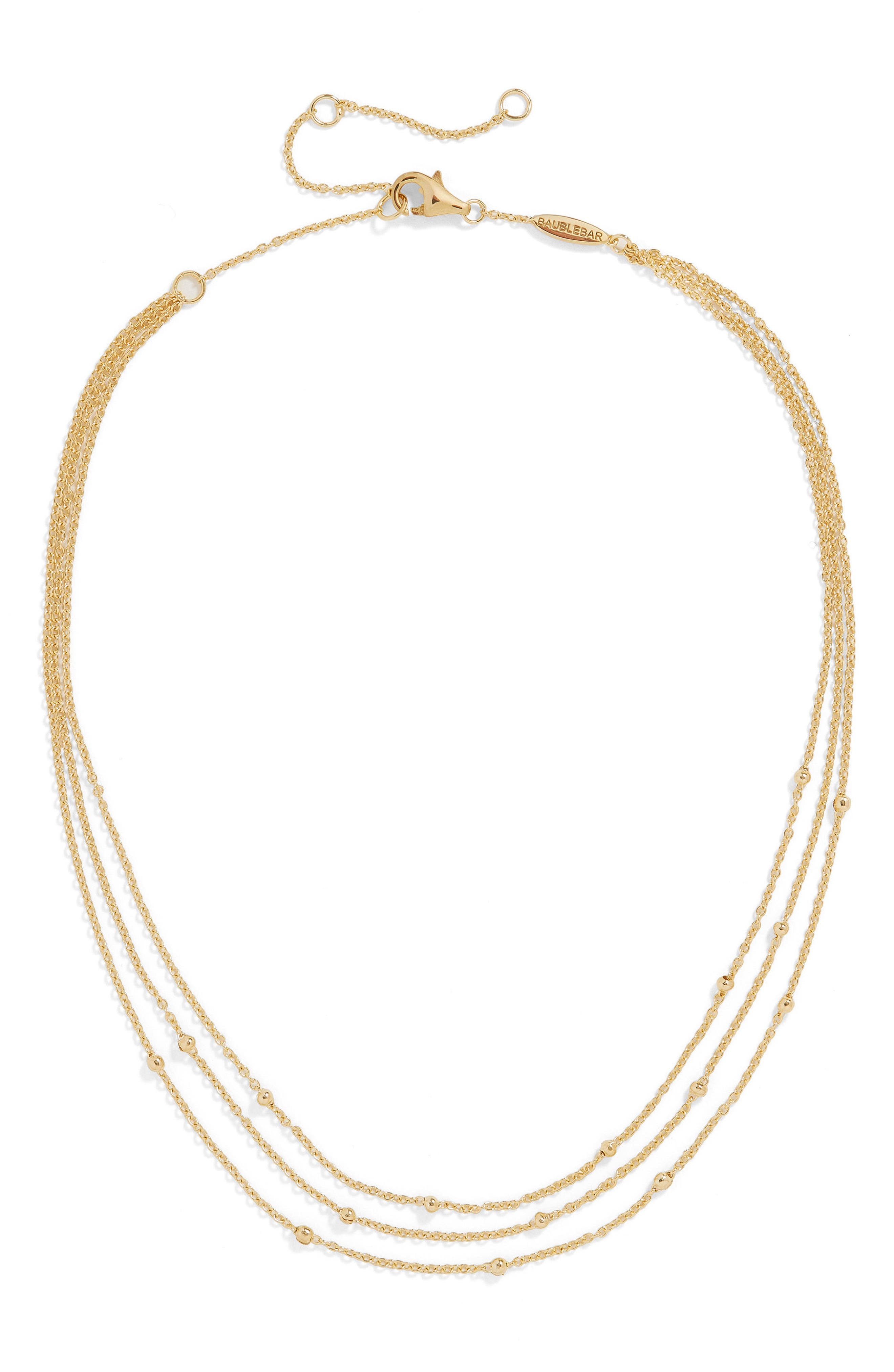 Fiamma Everyday Triple Strand Vermeil Necklace,                         Main,                         color, Gold