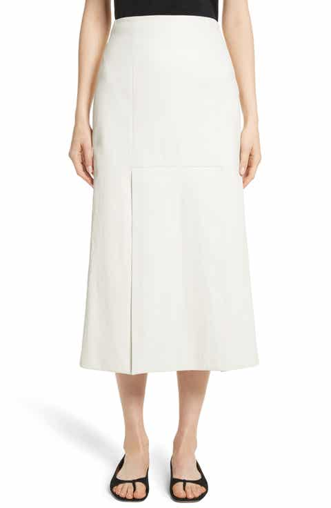 Rosetta Getty Lambskin Leather Midi Skirt