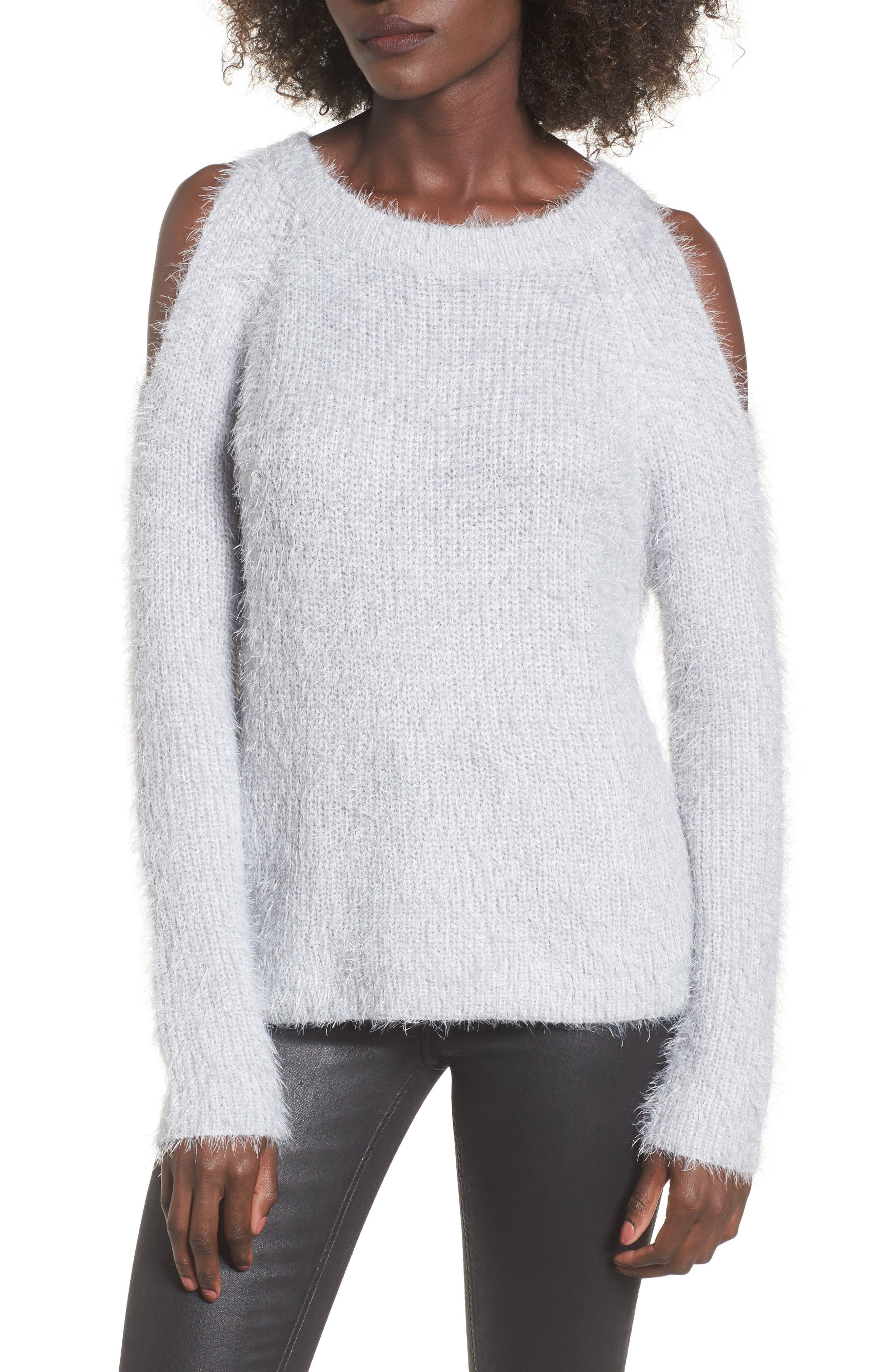 Cold Shoulder Sweater,                             Main thumbnail 1, color,                             Light Purple Grey