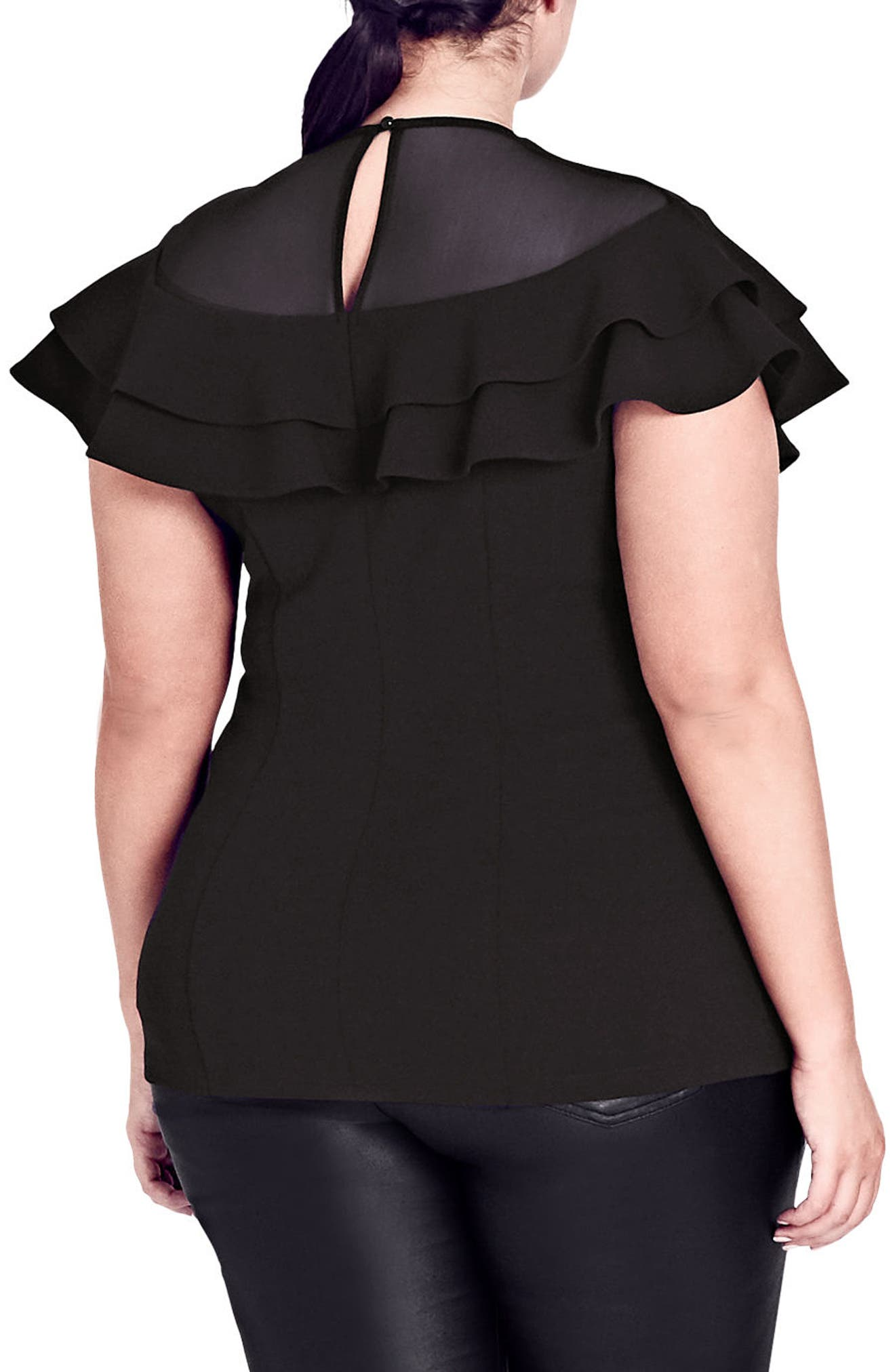 Sheer Ruffle Top,                             Alternate thumbnail 2, color,                             Black
