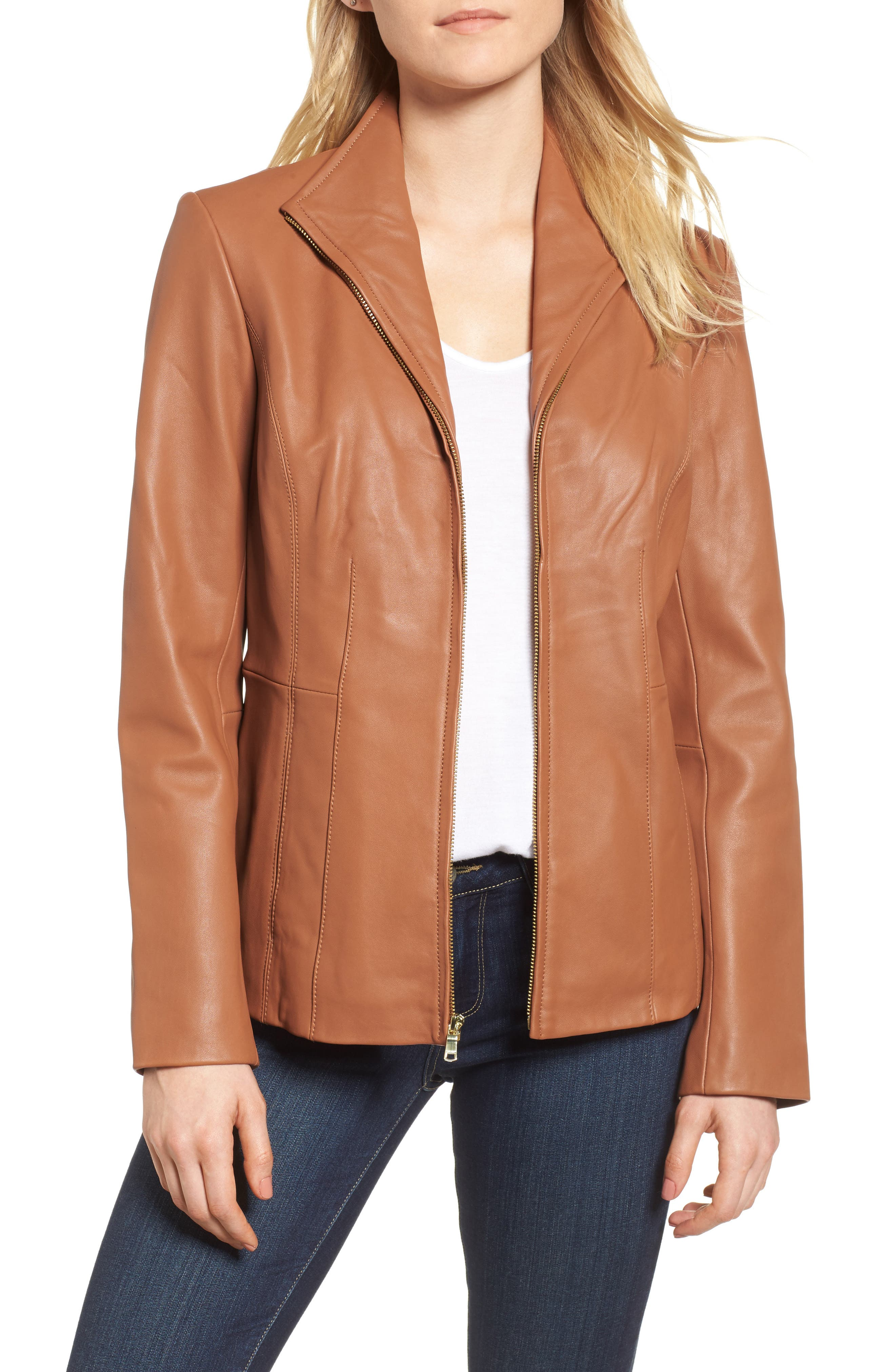 Leather Jacket,                         Main,                         color, Cognac