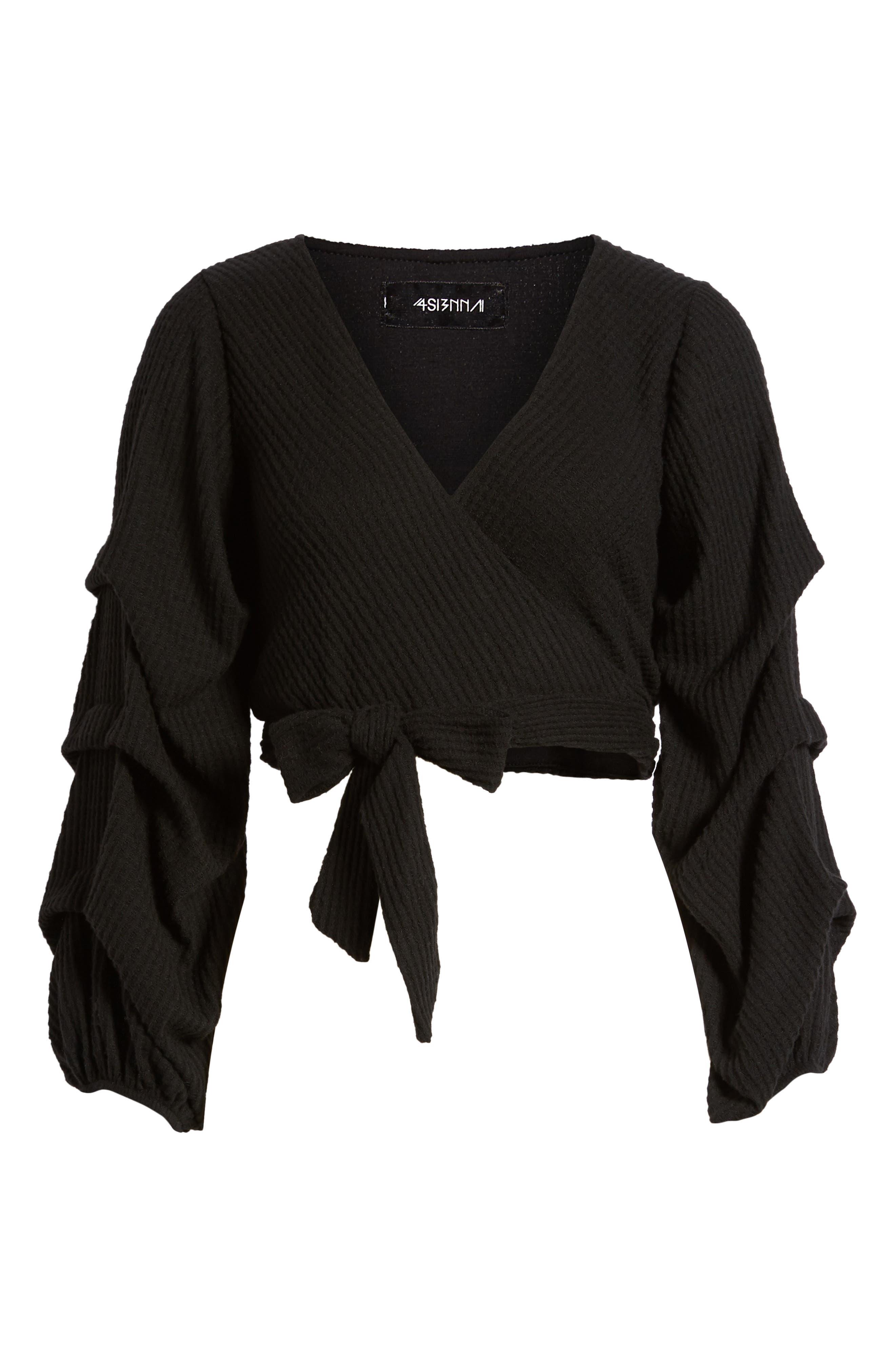 Wrap Sweater,                             Alternate thumbnail 6, color,                             Black