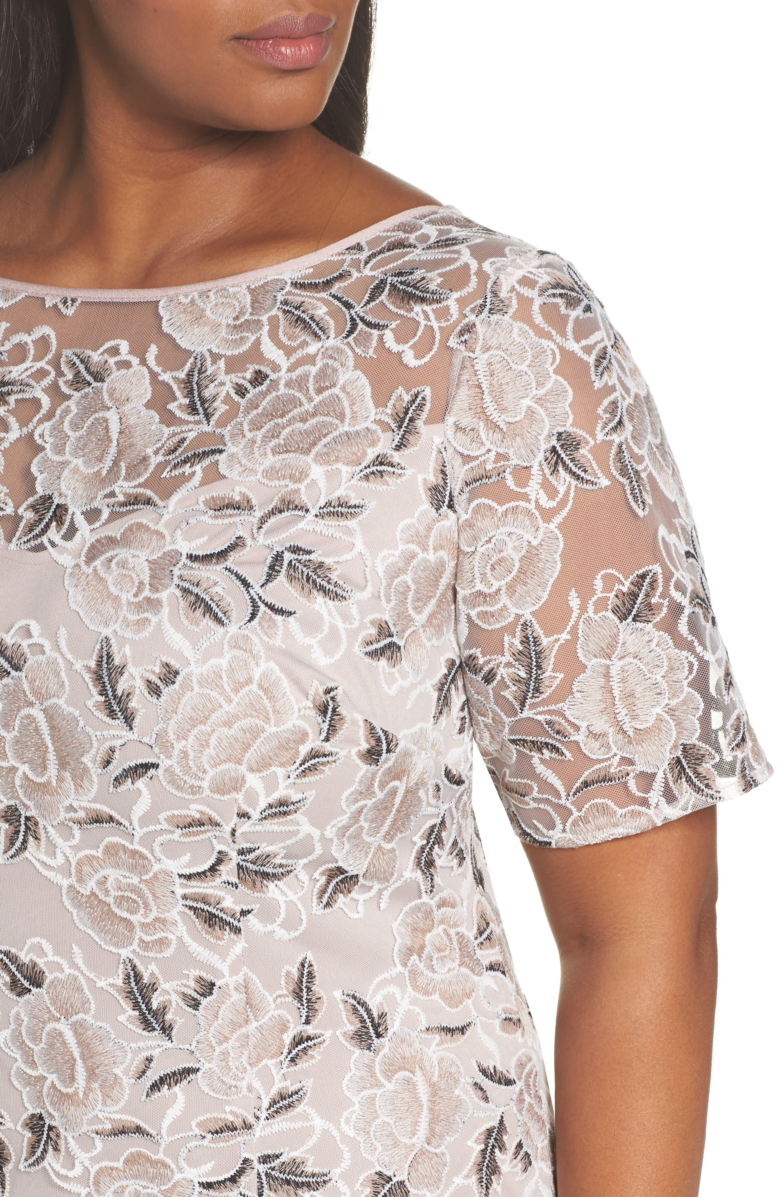Lace Sheath Dress,                             Alternate thumbnail 4, color,                             Pink Cinnamon Multi