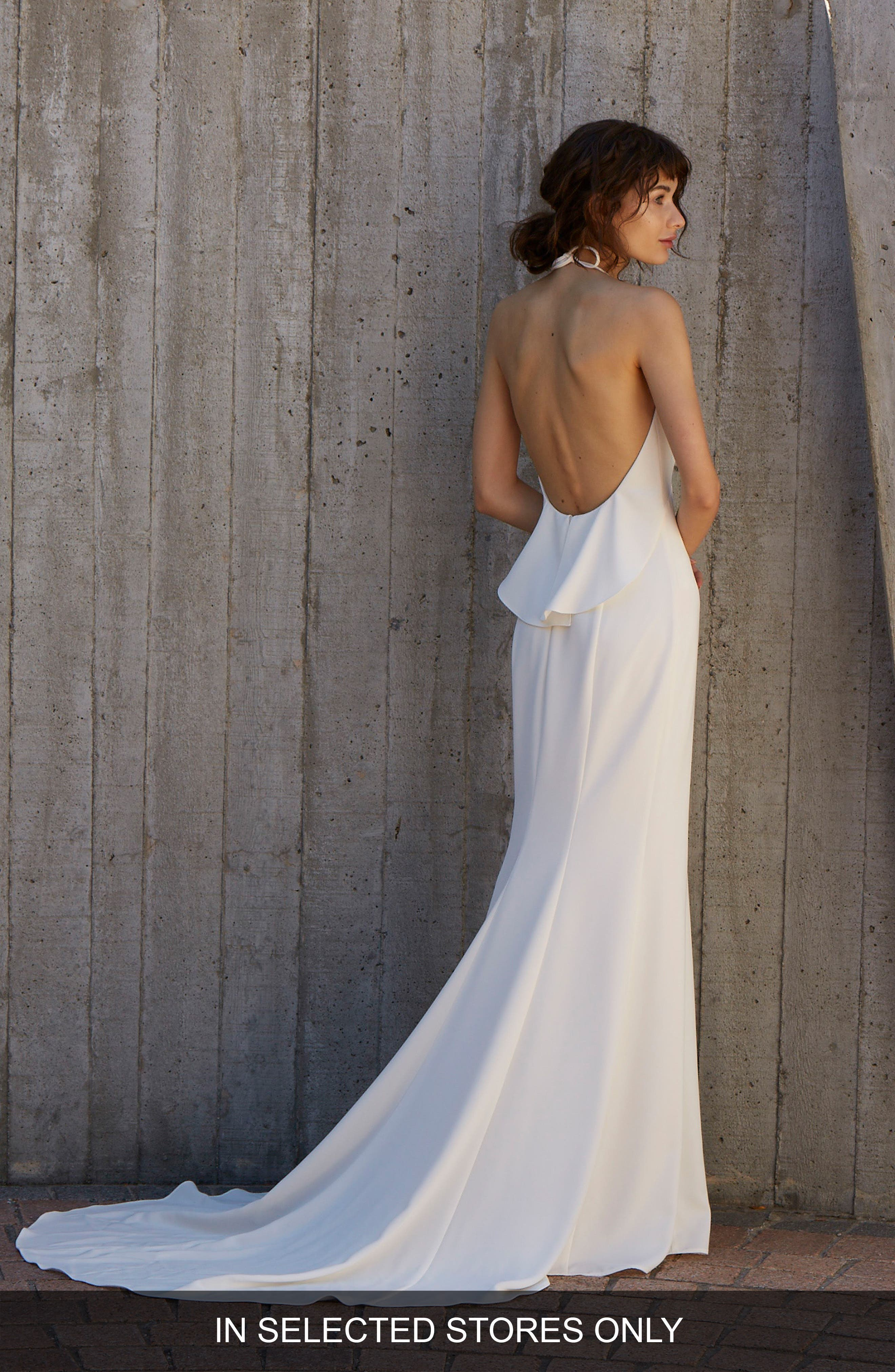 Blakely Halter Neck Trumpet Gown,                             Alternate thumbnail 2, color,                             Ivory