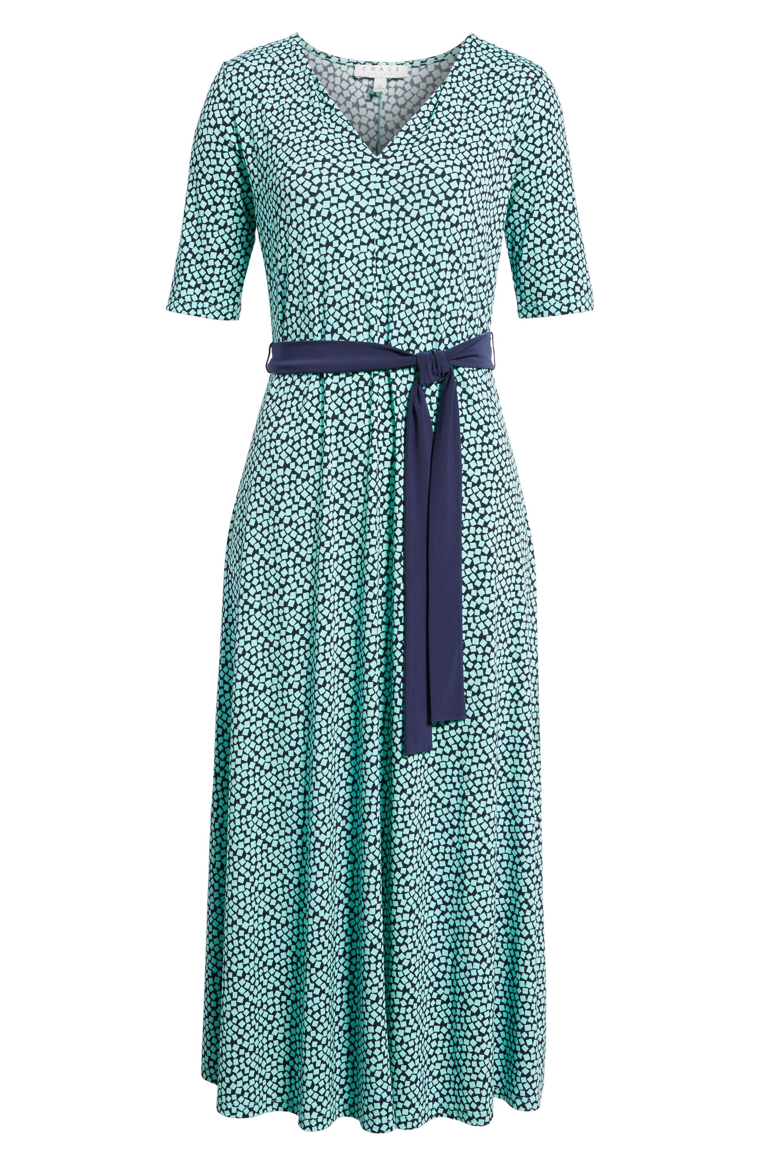Belted Cube Print Midi Dress,                             Alternate thumbnail 6, color,                             Sea Glass