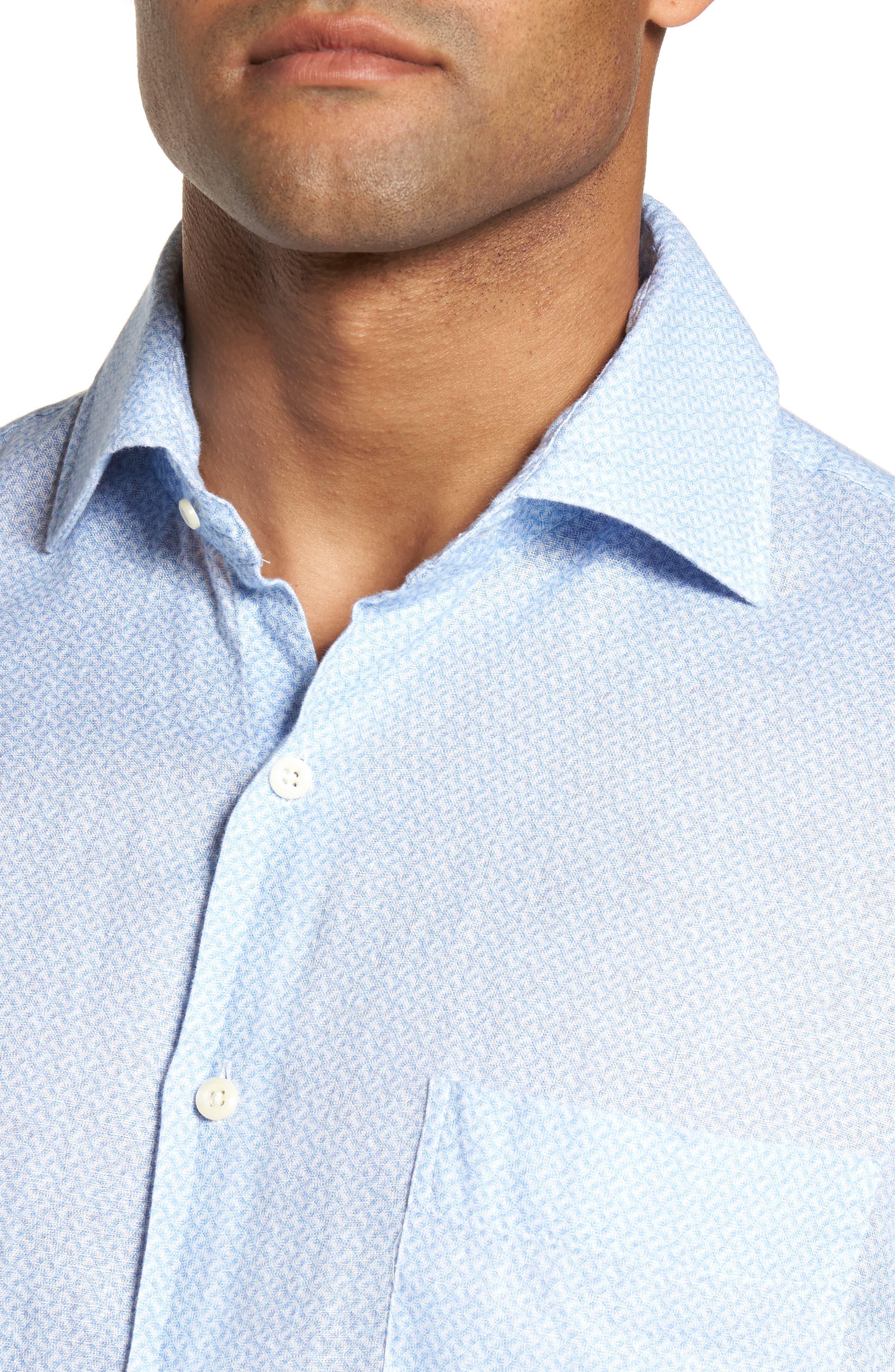 Whirlwind Regular Fit Linen Sport Shirt,                             Alternate thumbnail 4, color,                             Tar Heel Blue