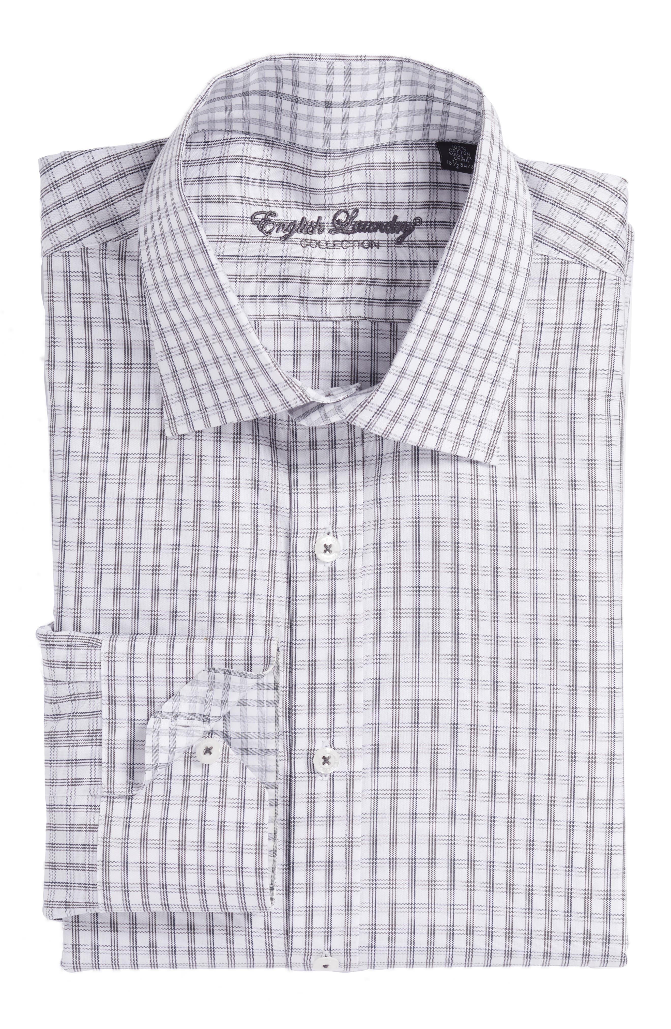 Trim Fit Plaid Dress Shirt,                         Main,                         color, Charcoal
