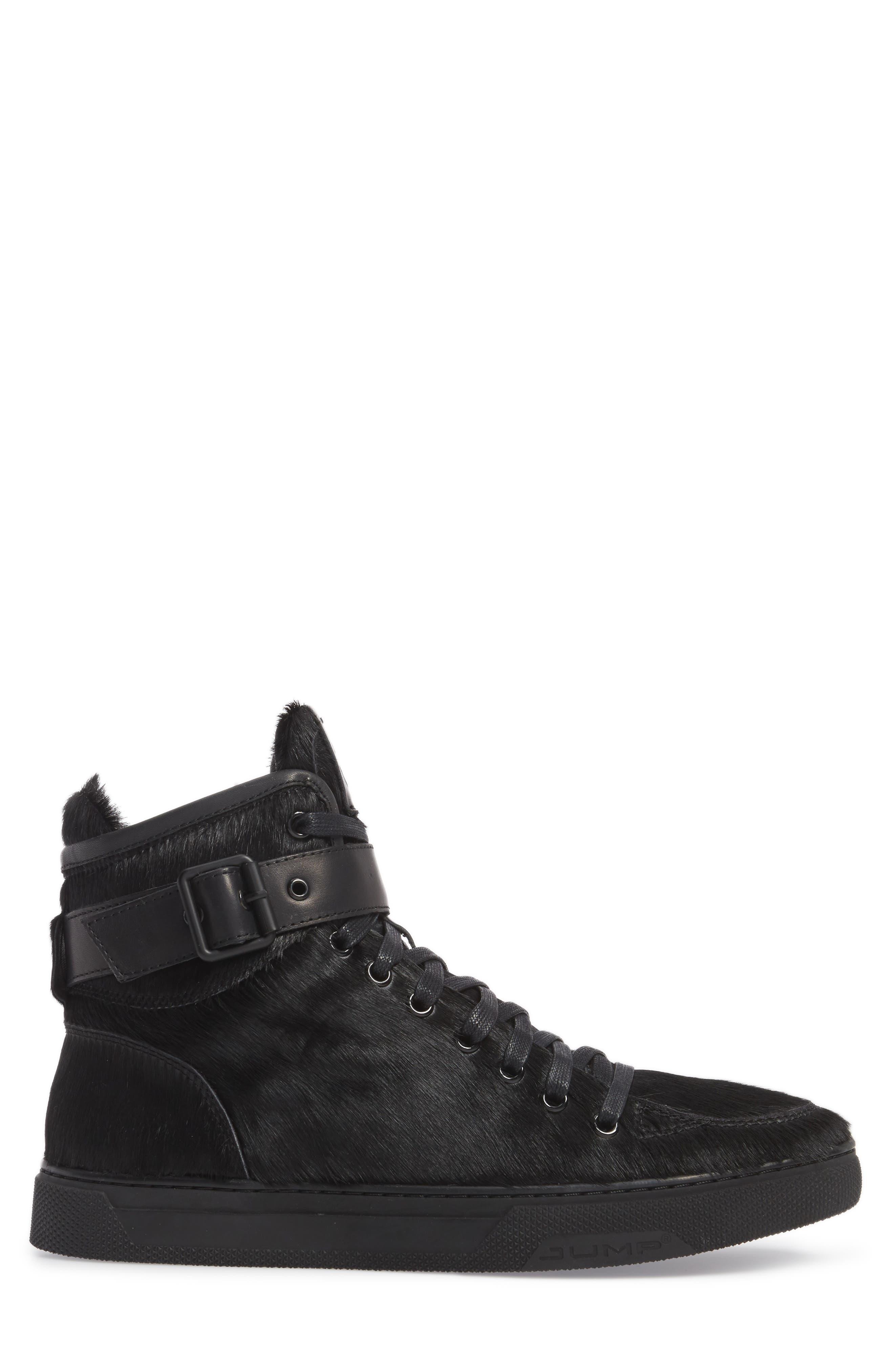 Sullivan Genuine Calf Hair High Top Sneaker,                             Alternate thumbnail 3, color,                             Black Fur Leather