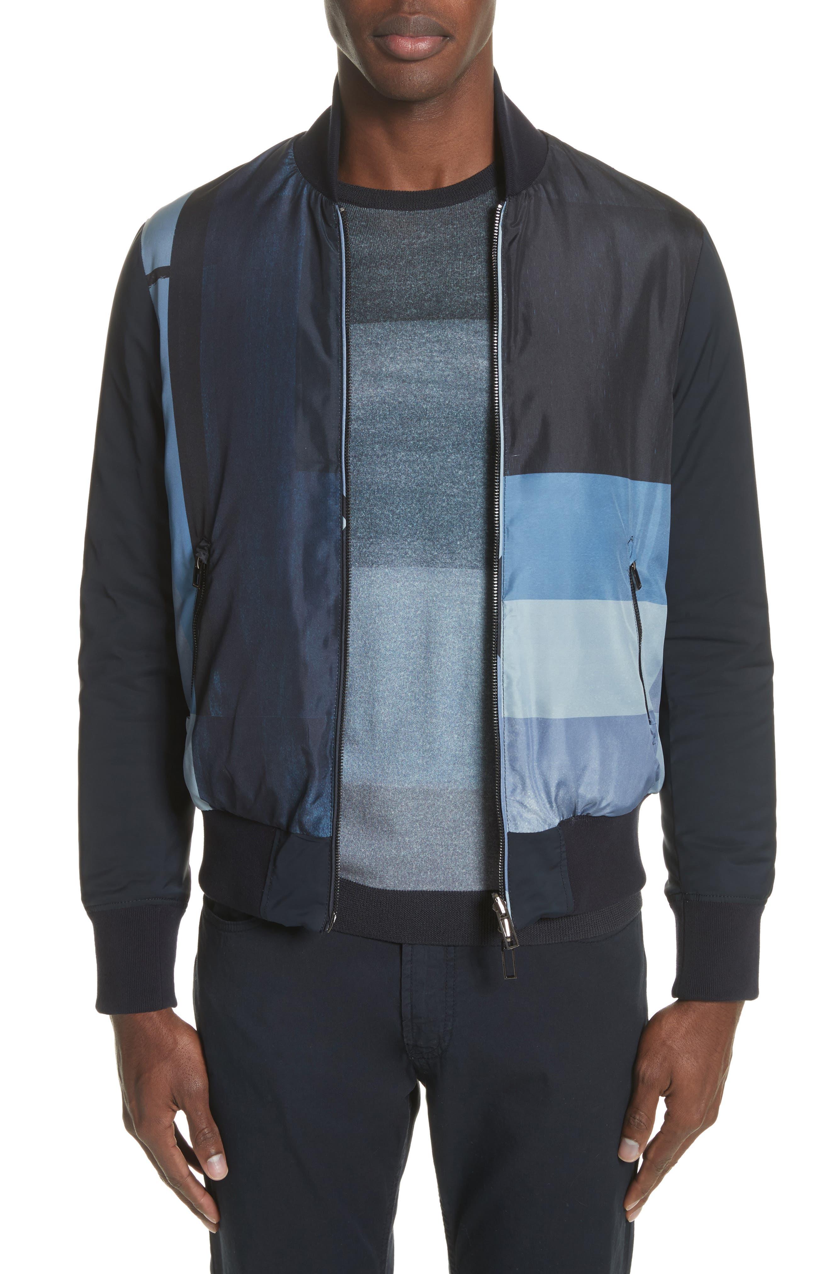 Colorblock Reversible Classic Fit Jacket,                             Main thumbnail 1, color,                             Blue Multi