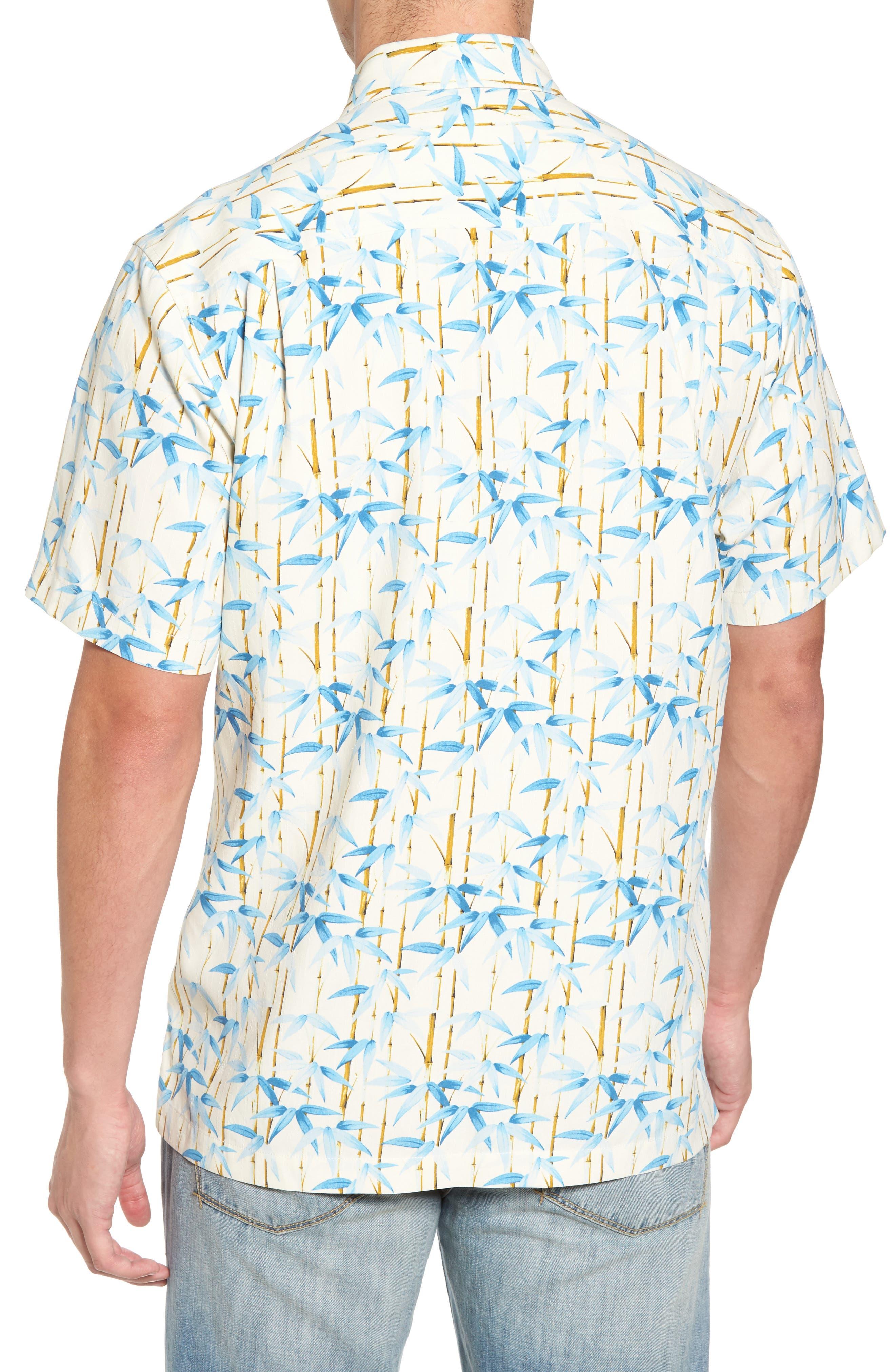 Forest Print Silk Sport Shirt,                             Alternate thumbnail 2, color,                             Coconut Cream