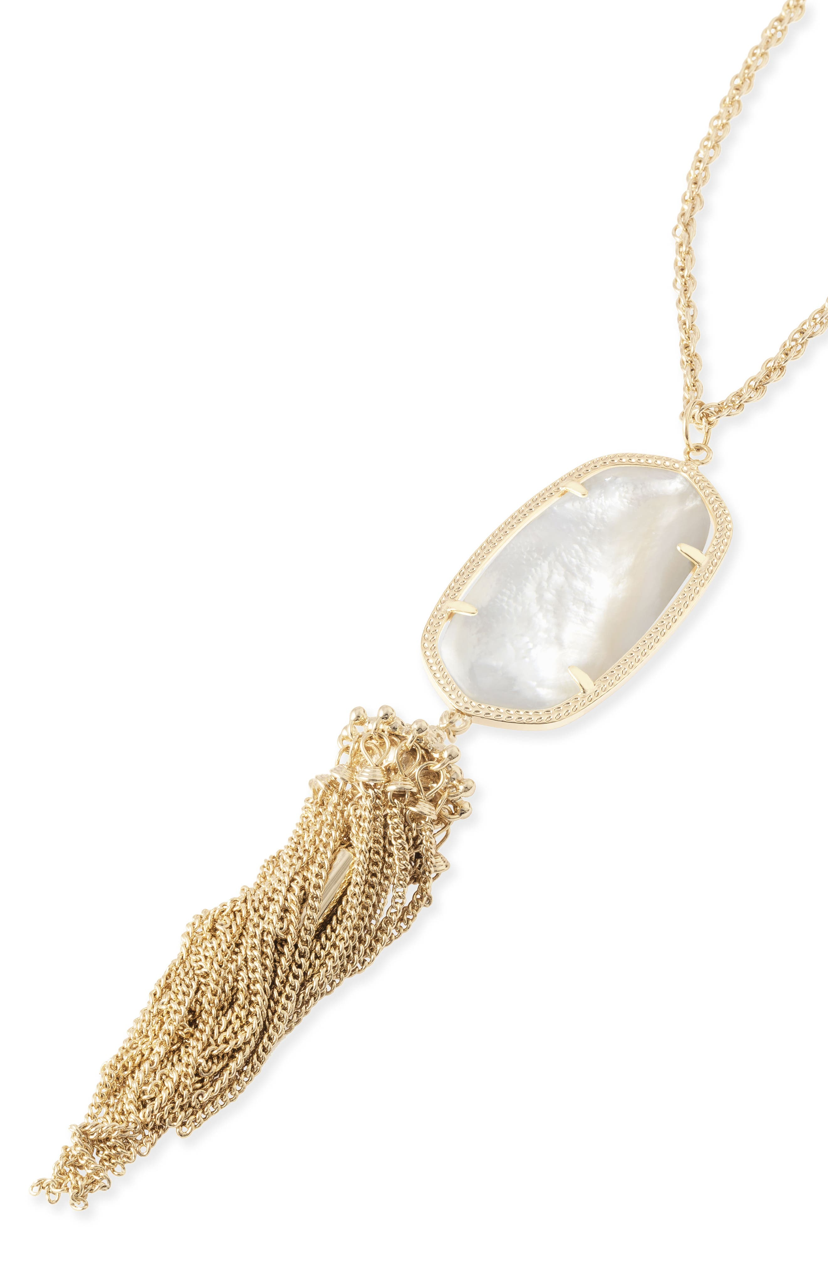 Rayne Stone Tassel Pendant Necklace,                             Alternate thumbnail 4, color,                             White Mother Of Pearl/ Gold