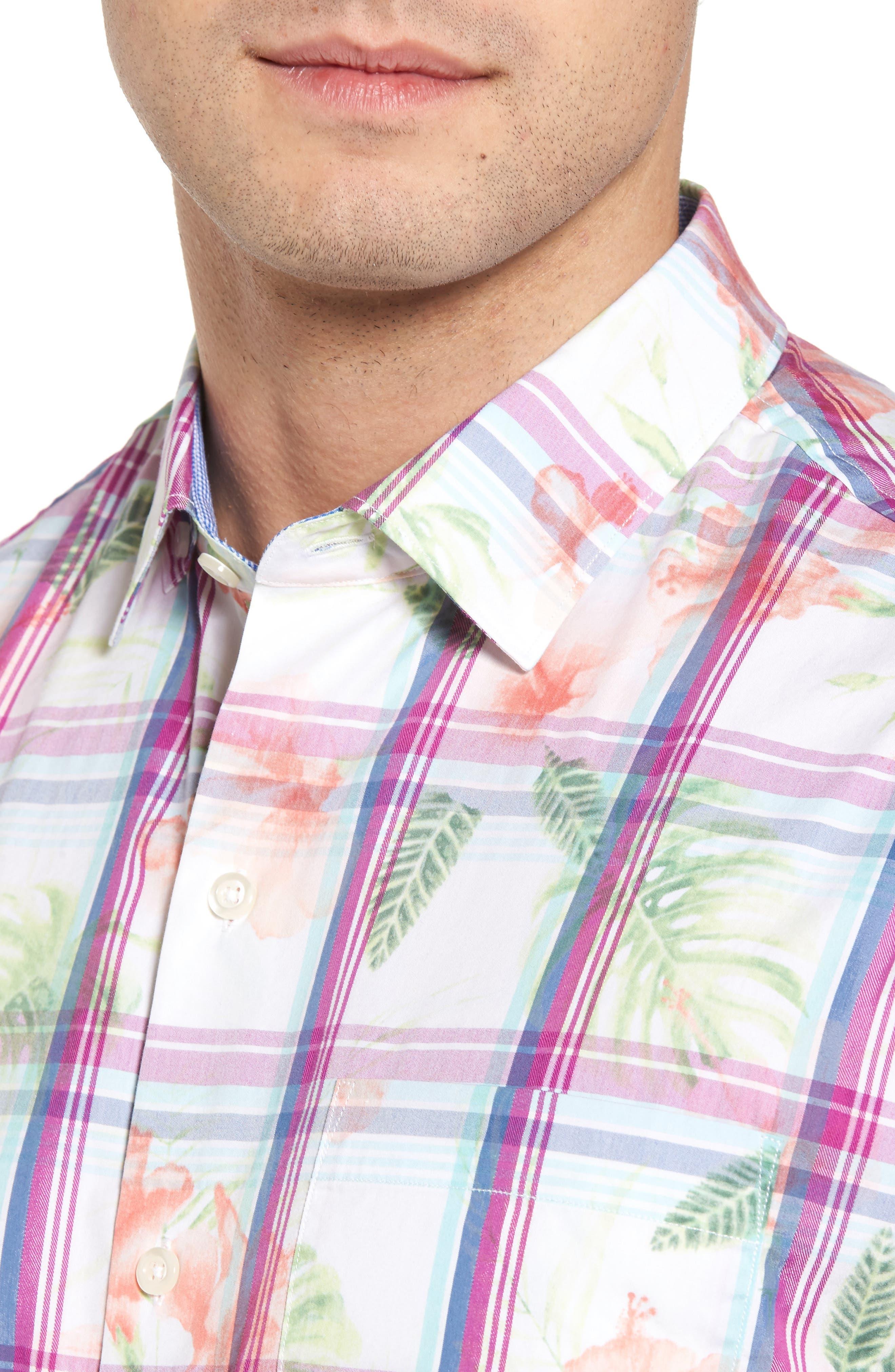 Vedado Regular Fit Plaid Sport Shirt,                             Alternate thumbnail 4, color,                             White