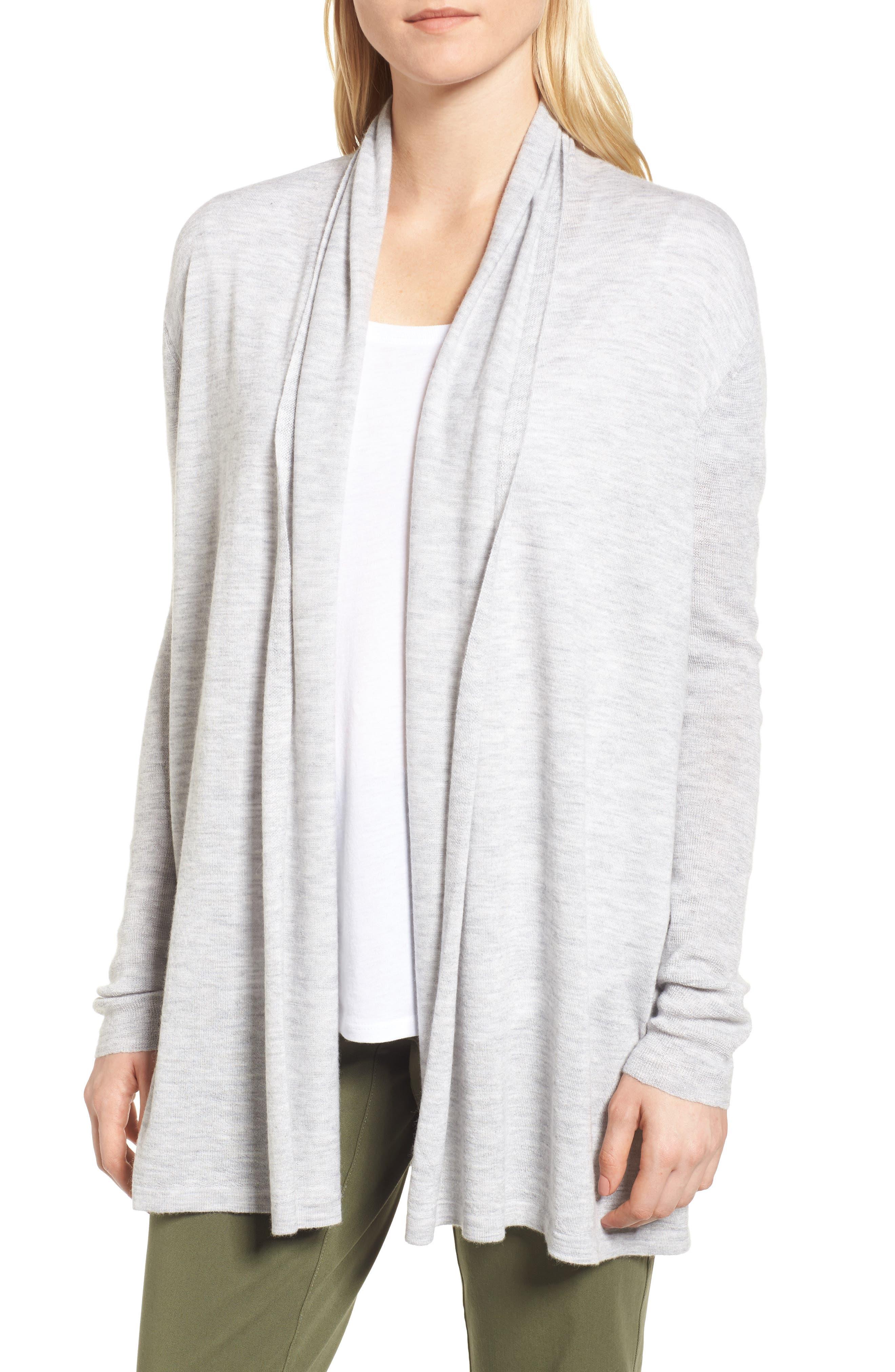 Cashmere Cardigan,                         Main,                         color, Grey Clay Heather