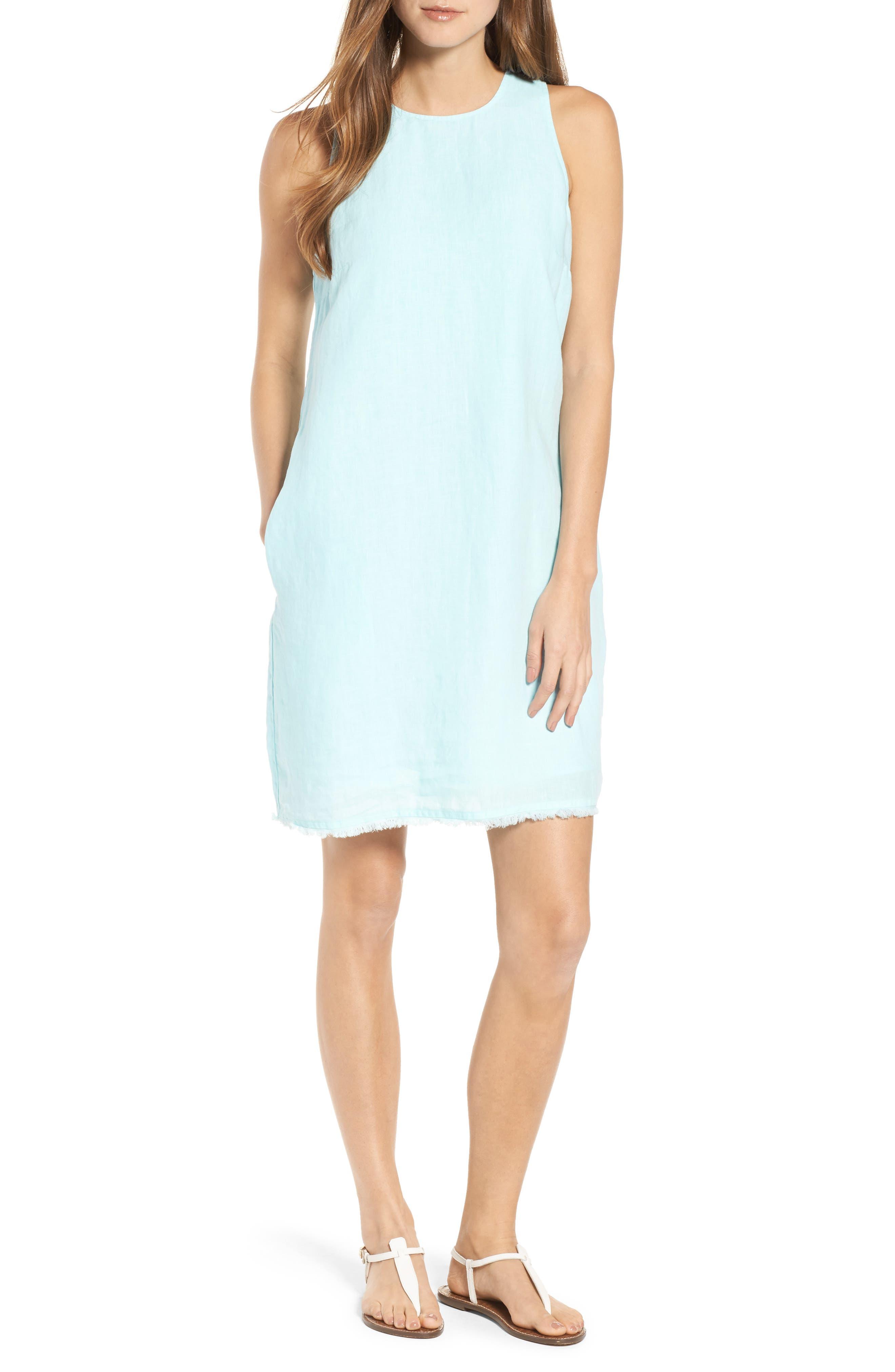Two Palms Frayed Trim Shift Dress,                         Main,                         color, Aqua Mist