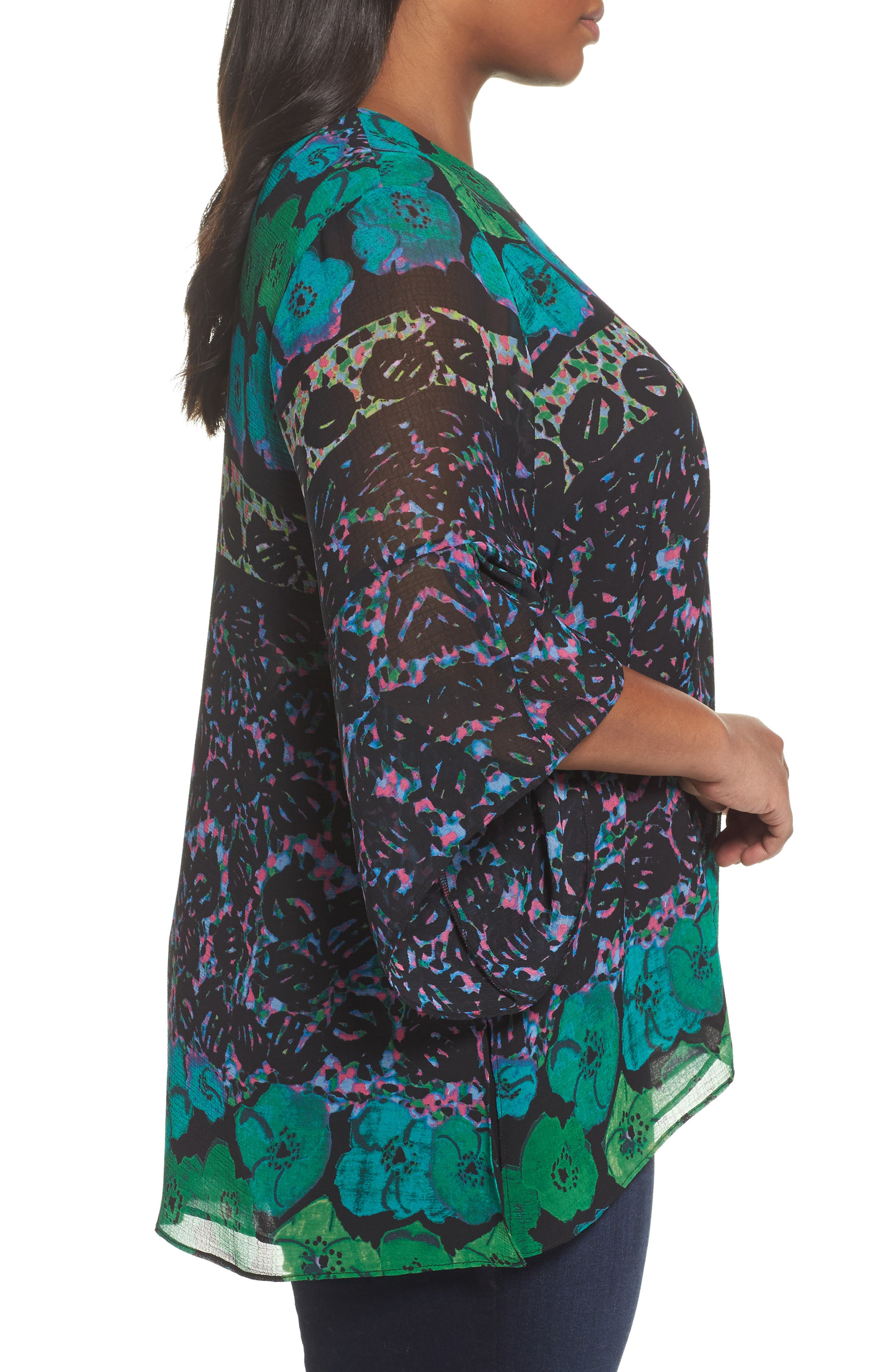 Alternate Image 4  - RACHEL Rachel Roy Print Bell Sleeve Blouse (Plus Size)