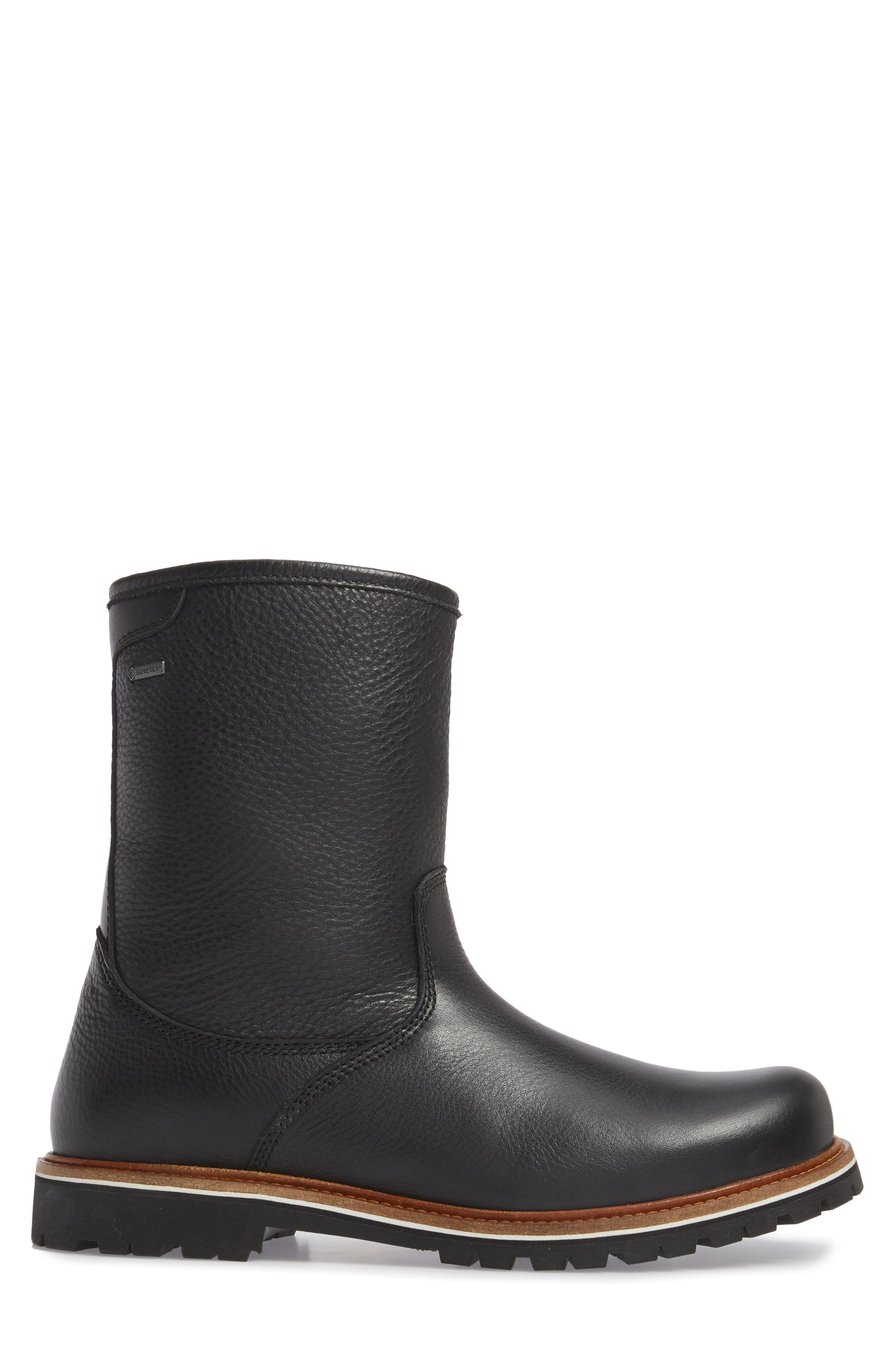 Snow Lodge Waterproof Gore-Tex<sup>®</sup> Genuine Shearling Lined Boot,                             Alternate thumbnail 3, color,                             Black Leather