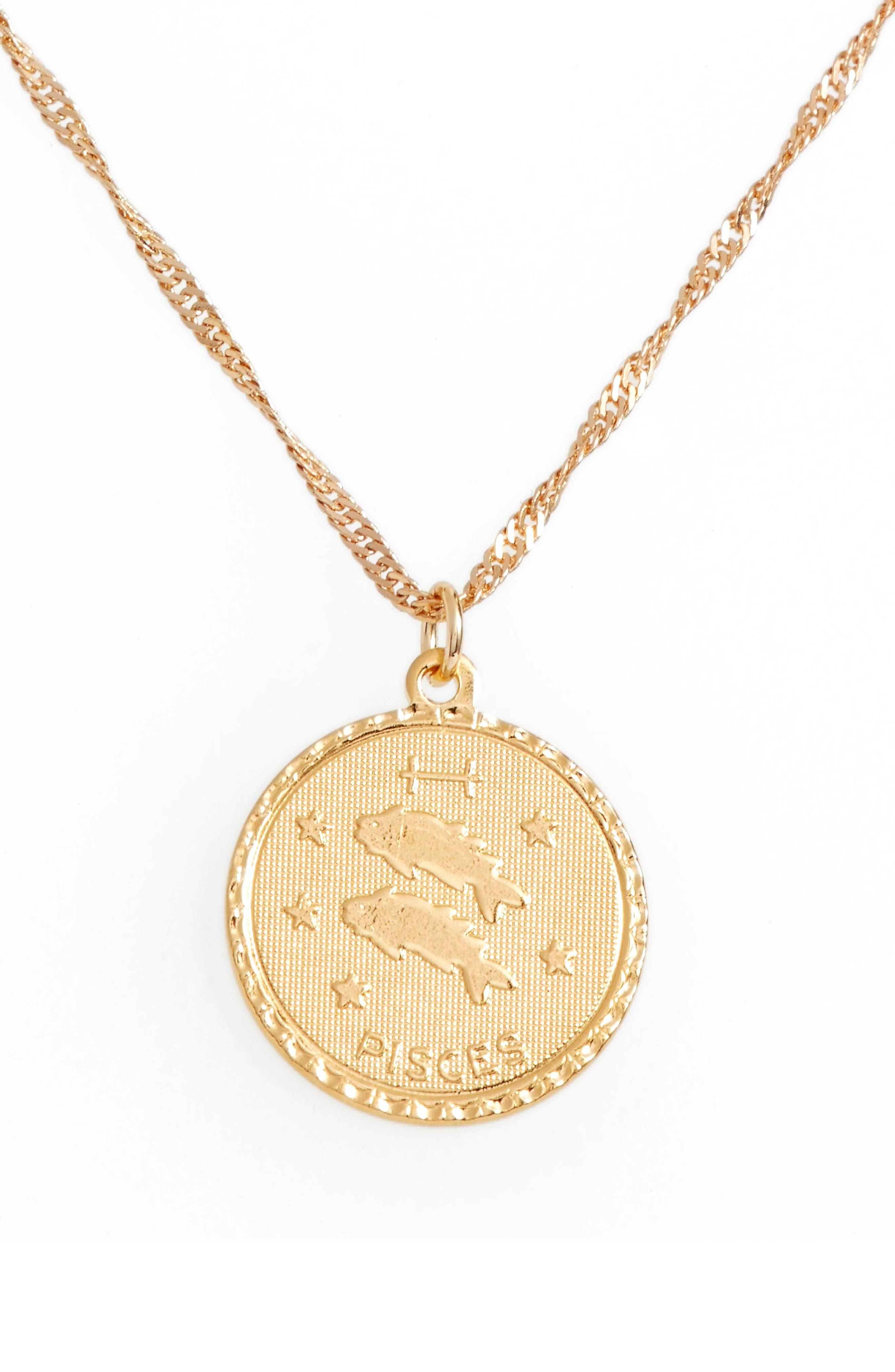 Ascending Pisces Pendant Necklace,                         Main,                         color, Yellow Gold