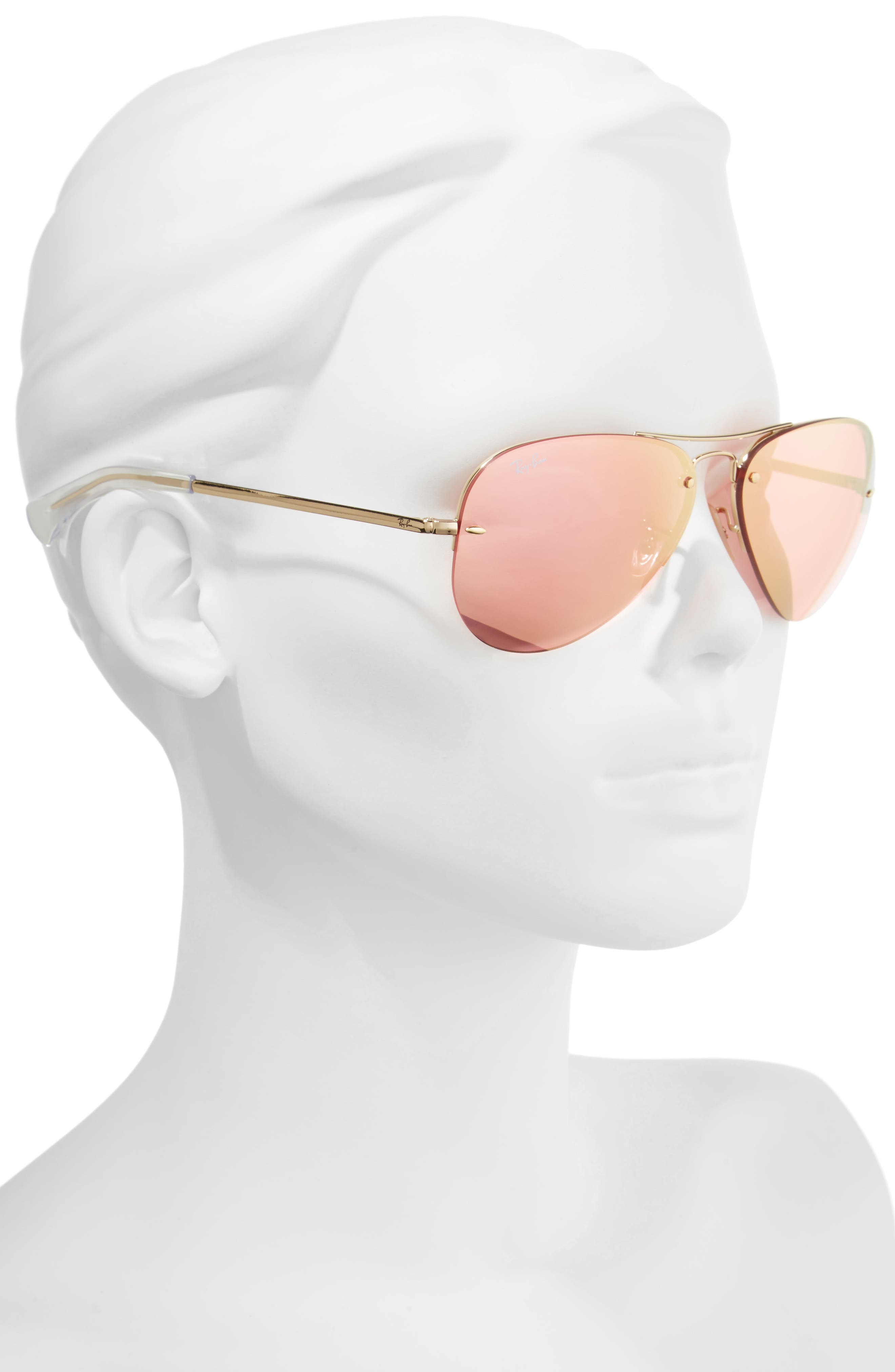 Alternate Image 2  - Ray-Ban Highstreet 59mm Semi Rimless Aviator Sunglasses