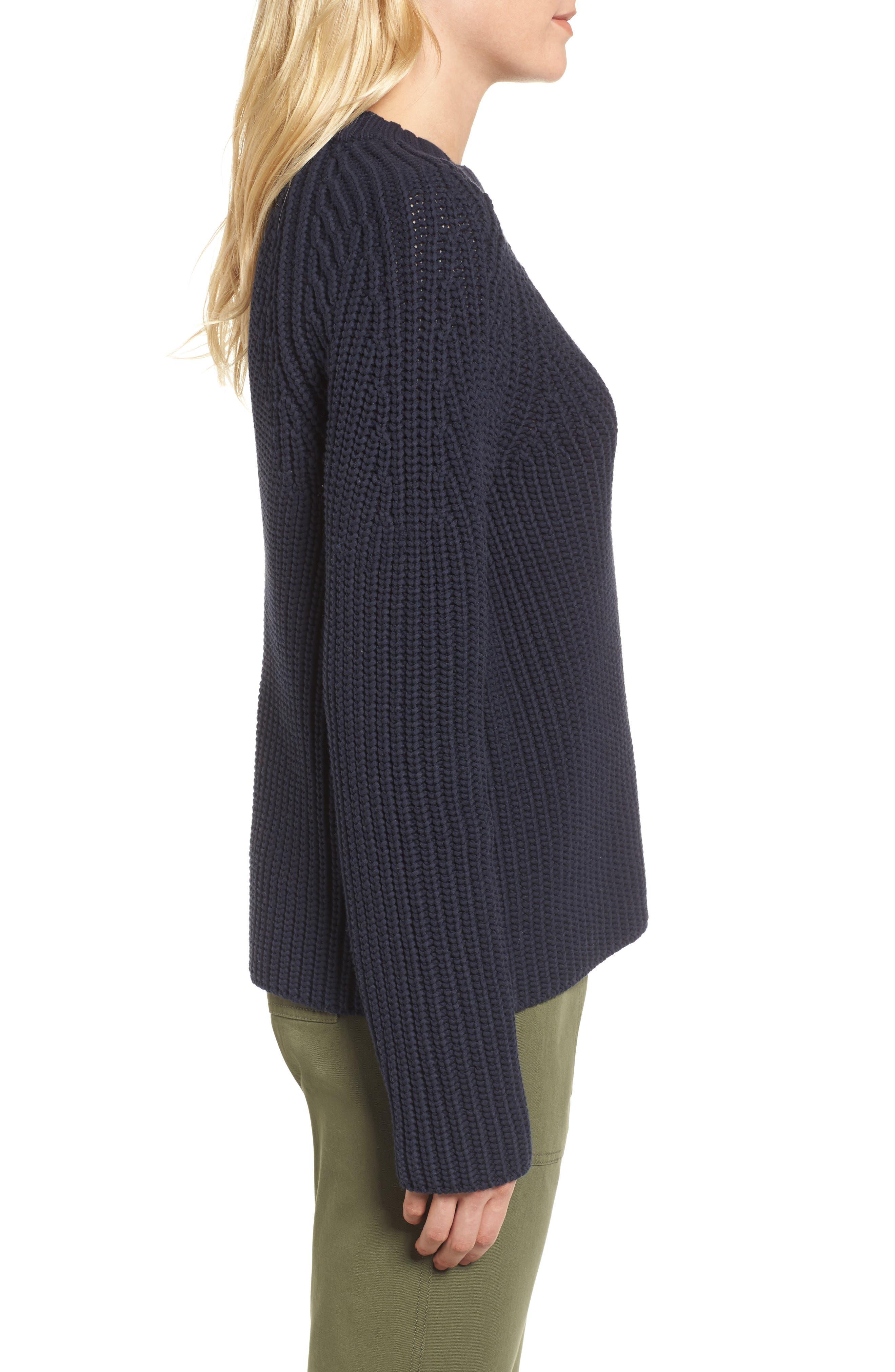 Raglan Sleeve Knit Sweater,                             Alternate thumbnail 3, color,                             Navy Night