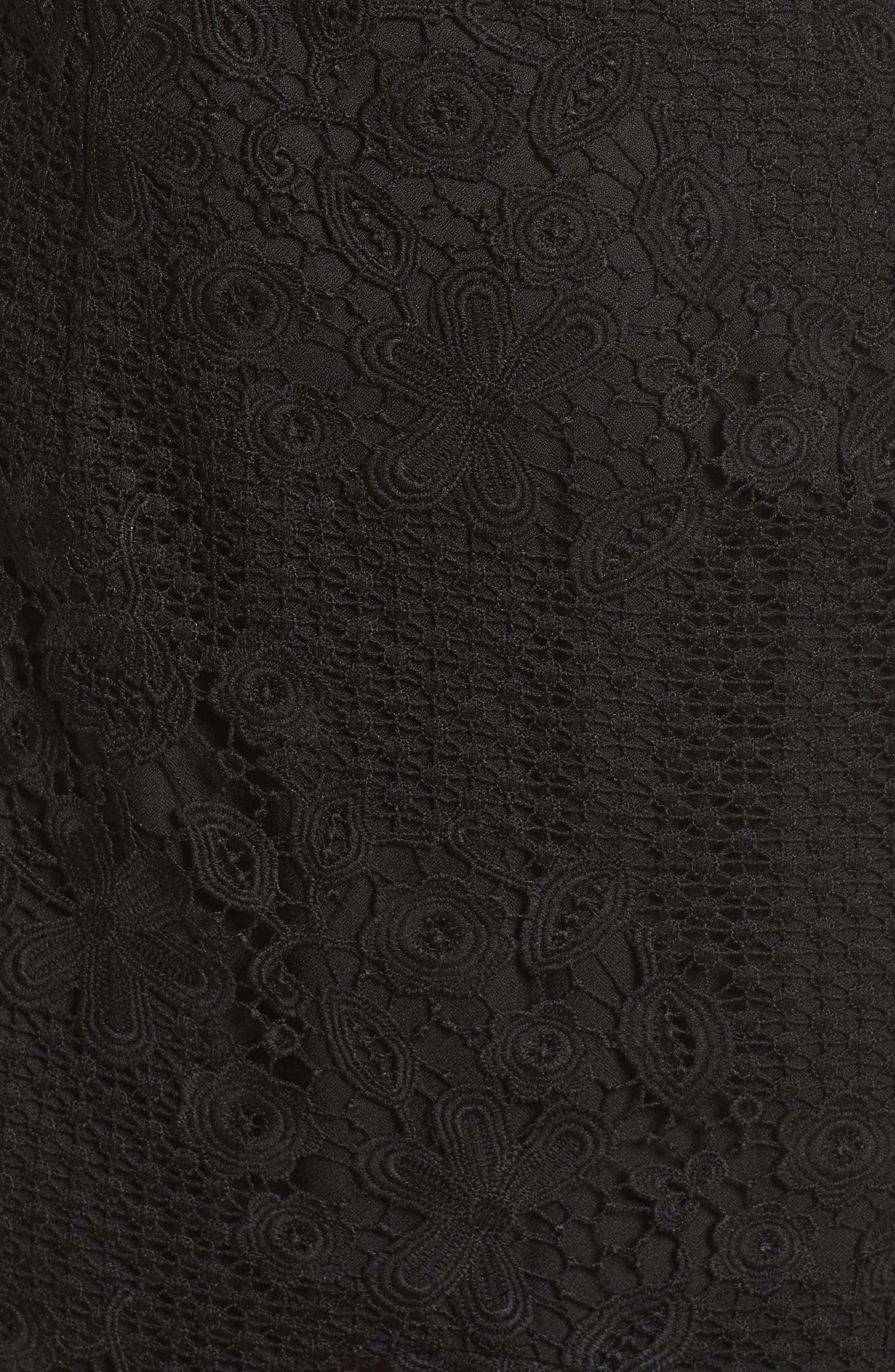 Pascal Lace Halter Neck Gown,                             Alternate thumbnail 5, color,                             Black