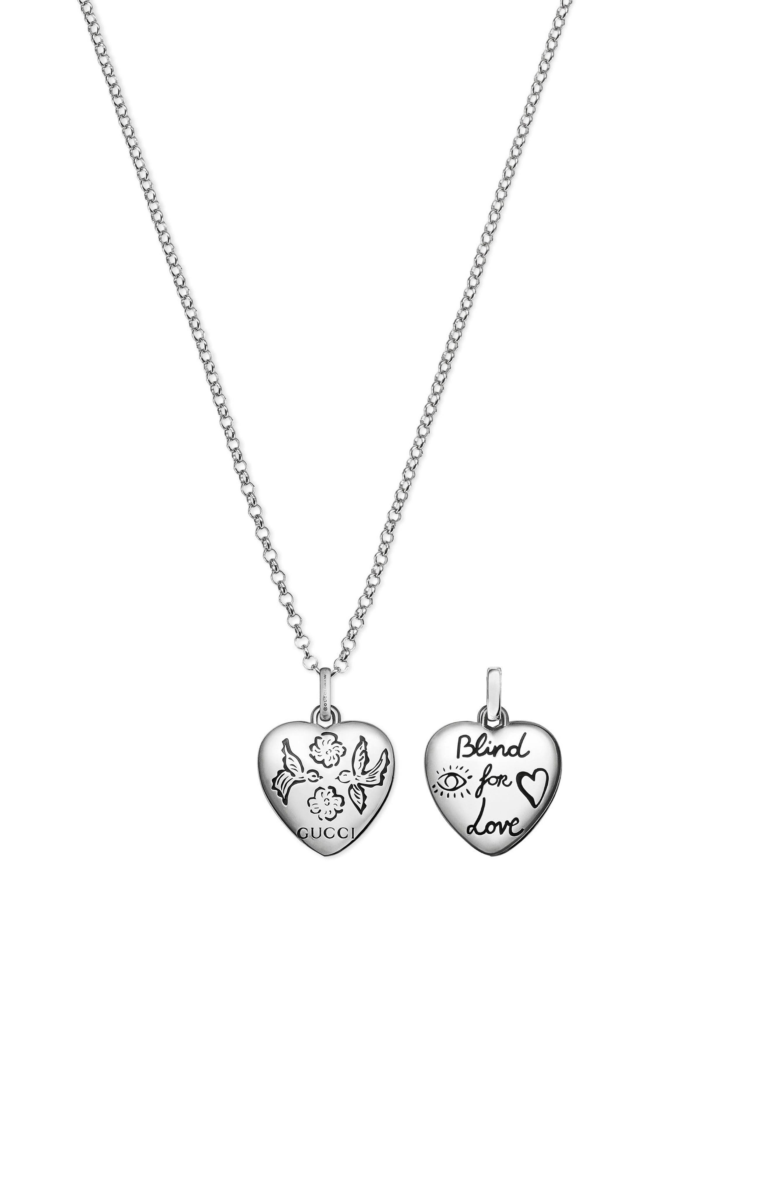 Blind for Love Pendant Necklace,                             Main thumbnail 1, color,                             Sterling Silver