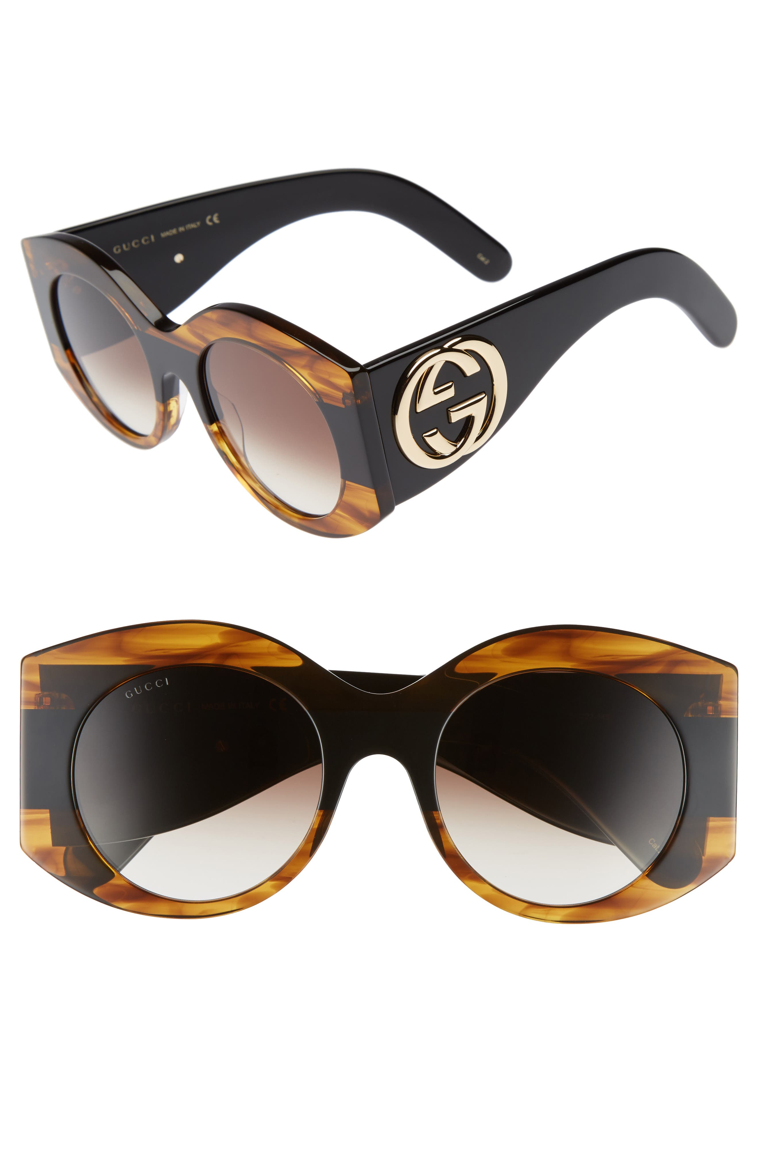51mm Transparent Stripe Sunglasses,                         Main,                         color, Havana