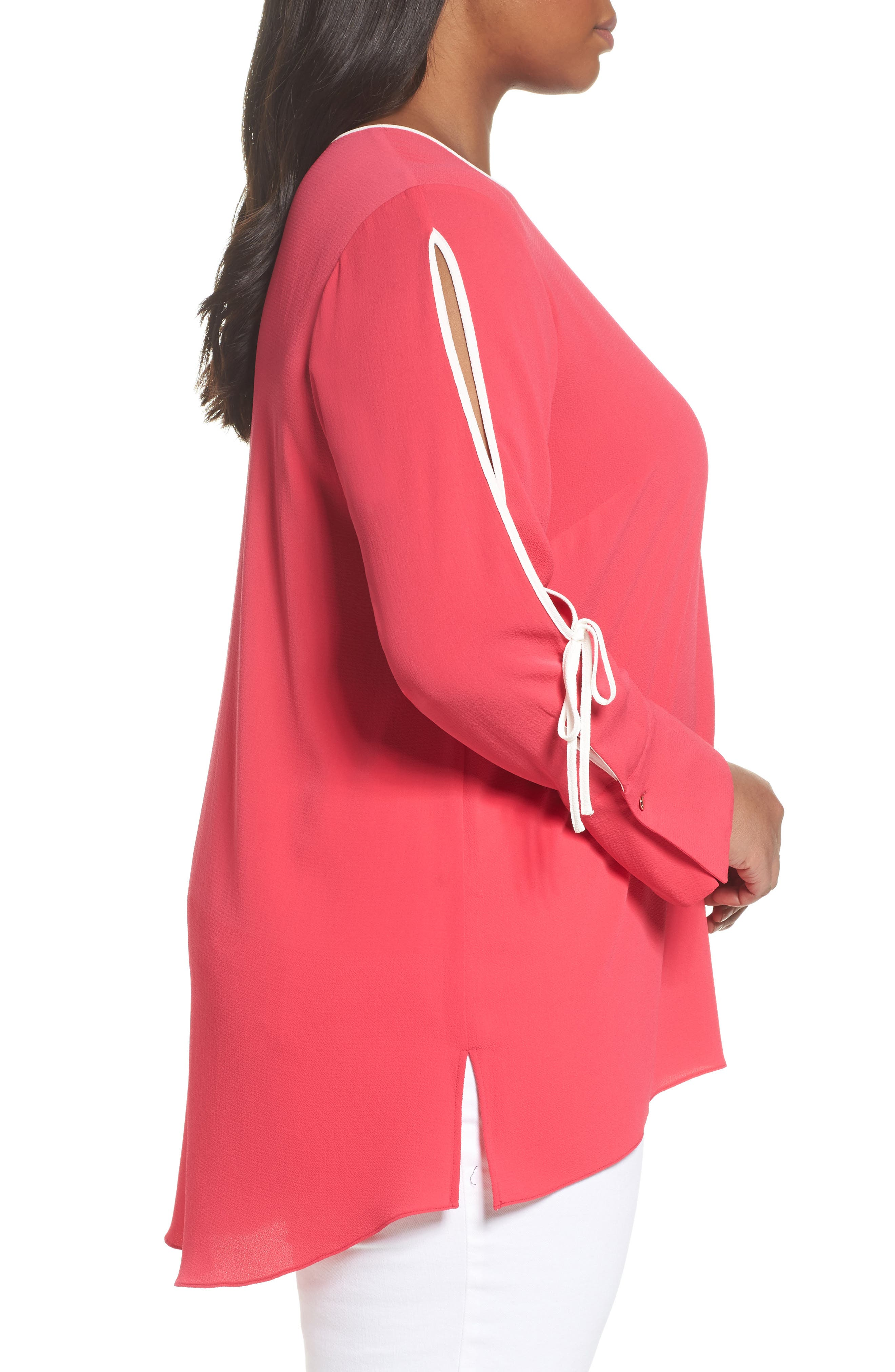 Bell Cuff Split Sleeve Shirt,                             Alternate thumbnail 3, color,                             Vibrant Pink