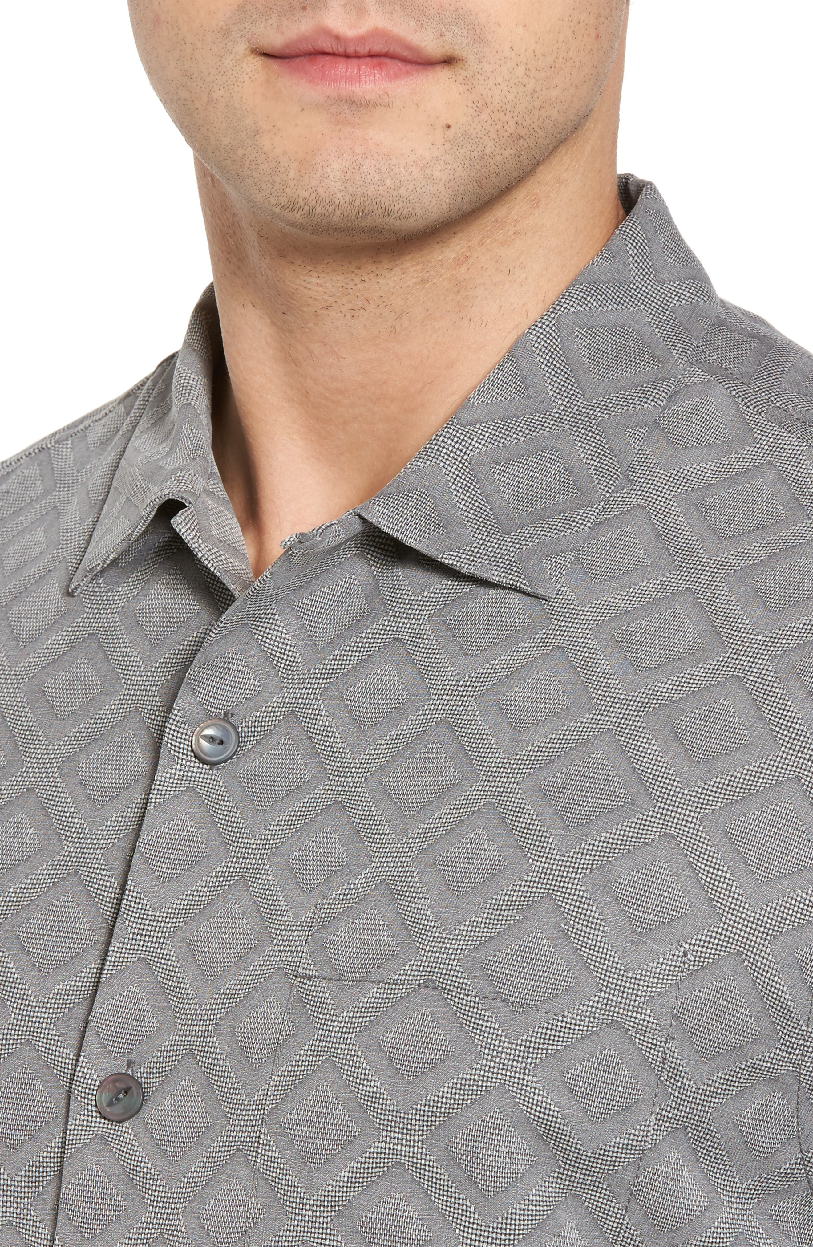 Solid Diamond Isle Silk Sport Shirt,                             Alternate thumbnail 4, color,                             Bala Shark