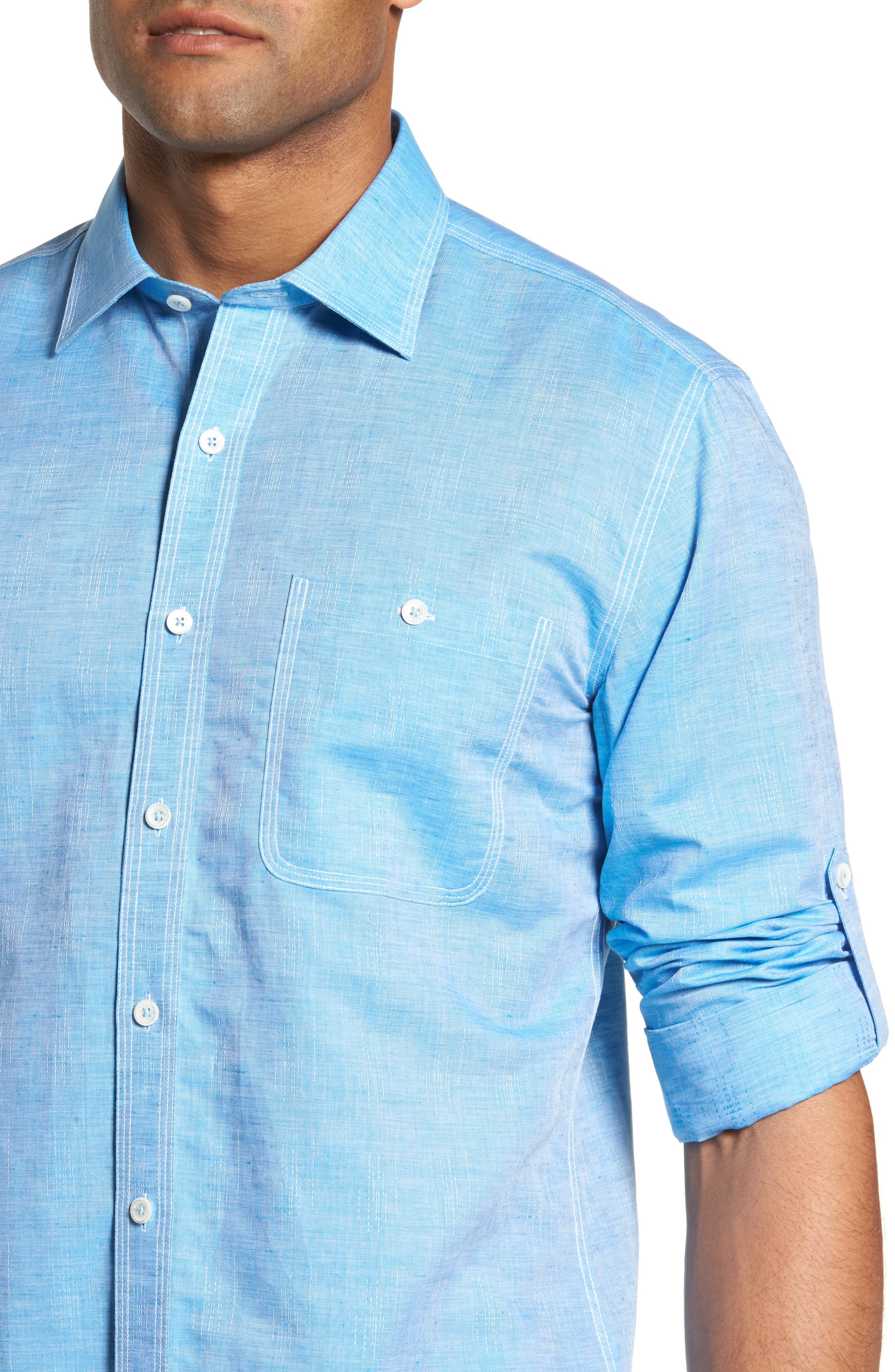 Shaped Fit Sport Shirt,                             Alternate thumbnail 4, color,                             Turquoise