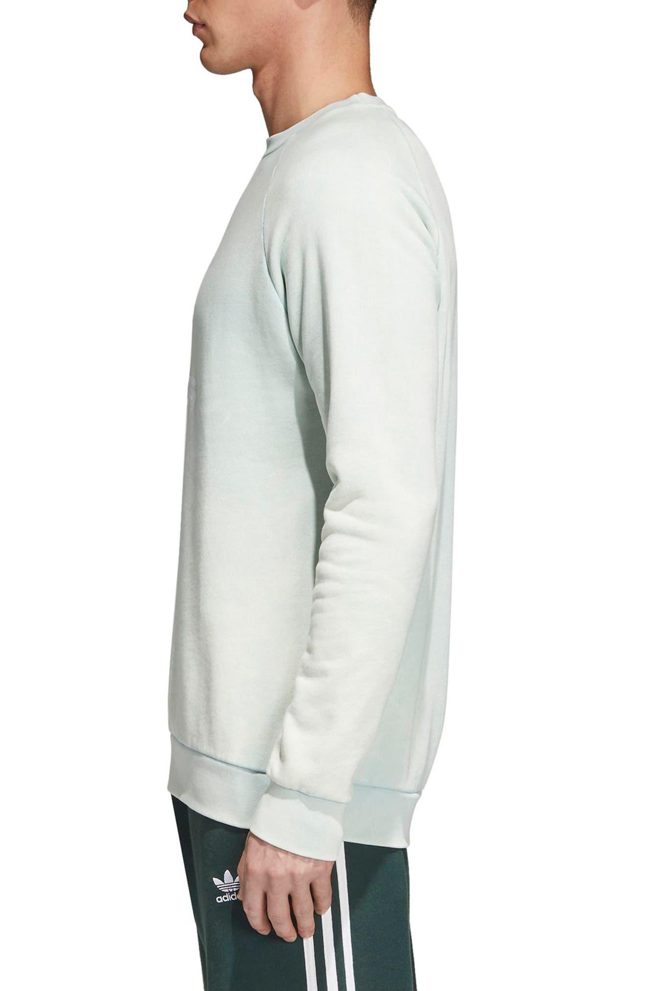 Trefoil Crewneck Sweatshirt,                             Alternate thumbnail 3, color,                             Ash Green